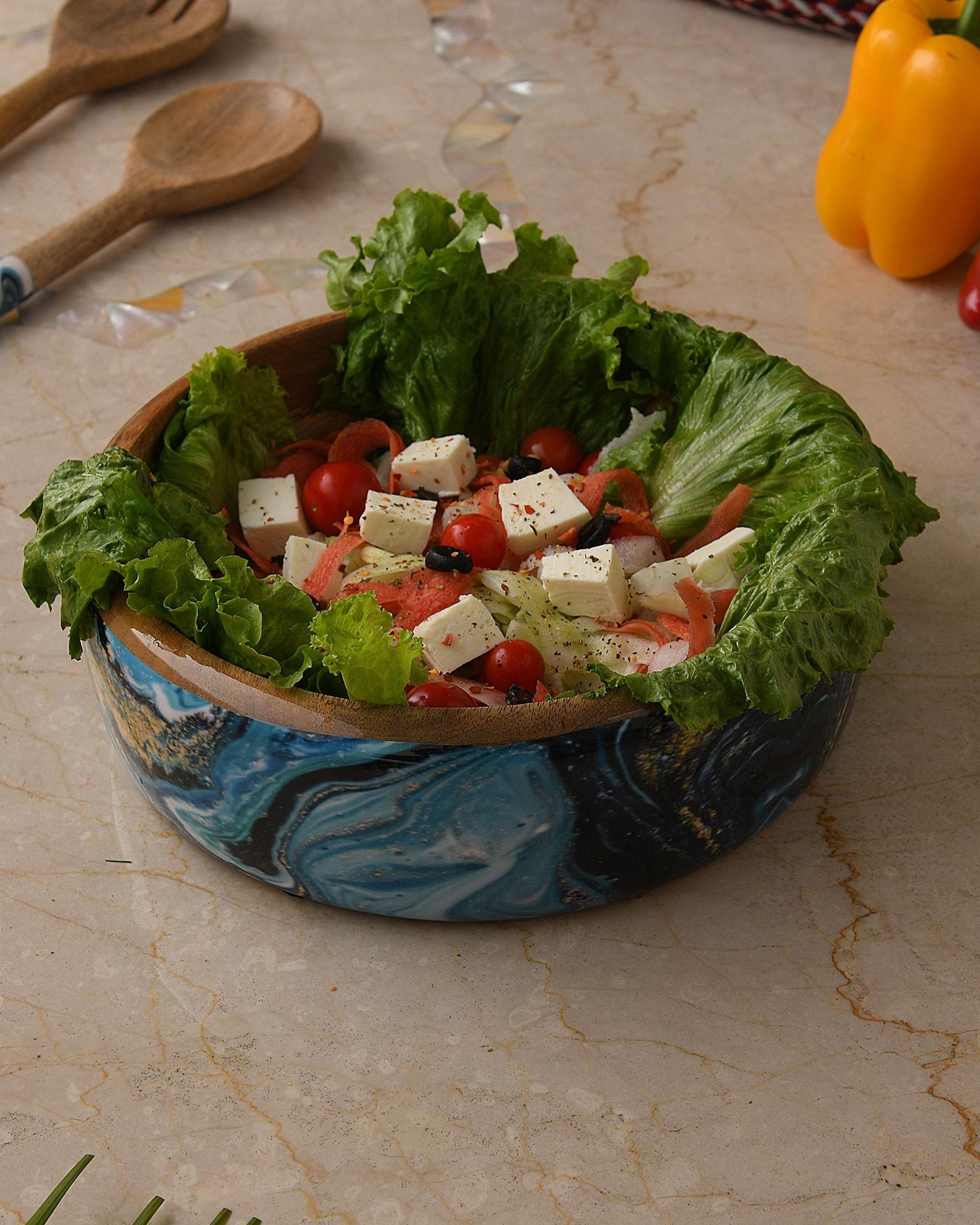 Shades of blue mango wood salad bowl