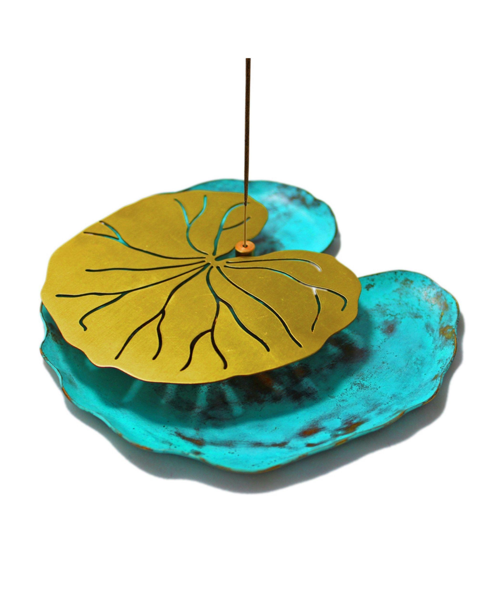 Lotus leaf incense stick holder