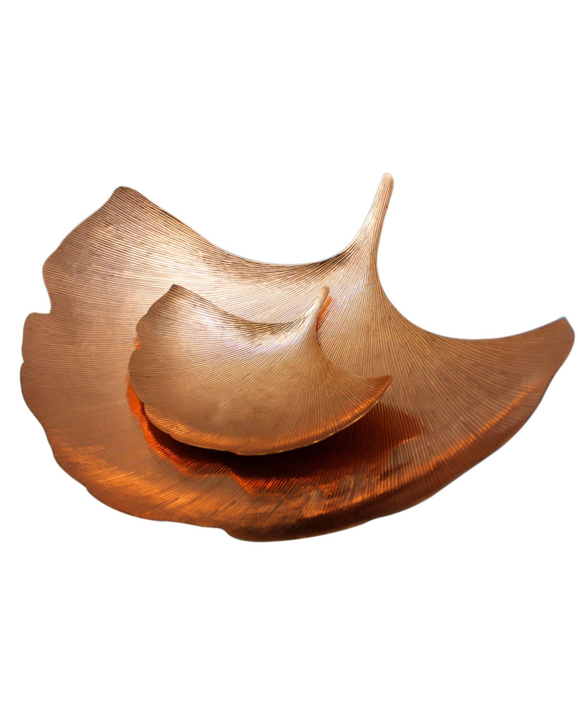 Copper ginkgo leaf platter - Set Of Two
