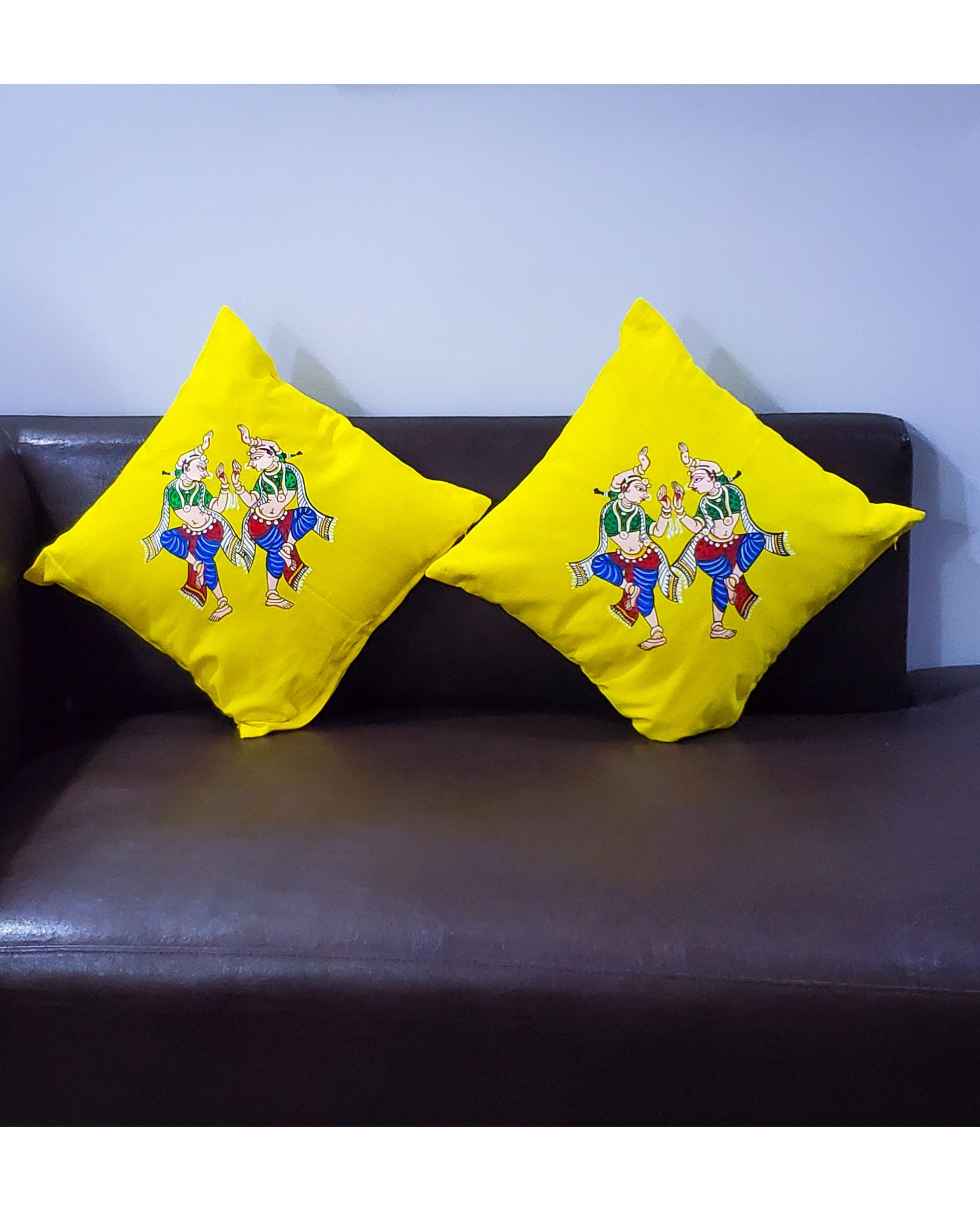 Yellow dancer hand painted cushion covers - Set Of Two