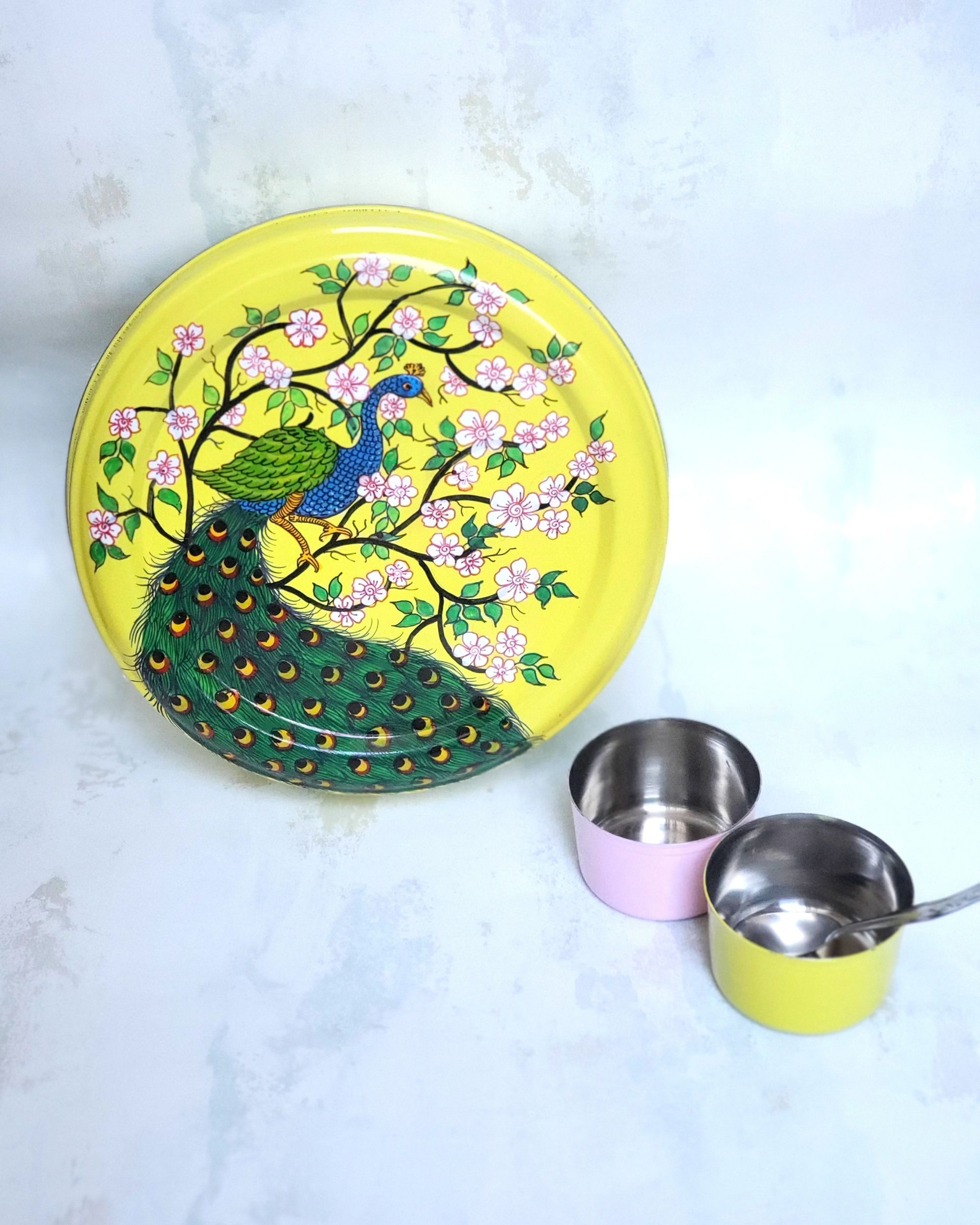 Peacock motif hand painted spice box set