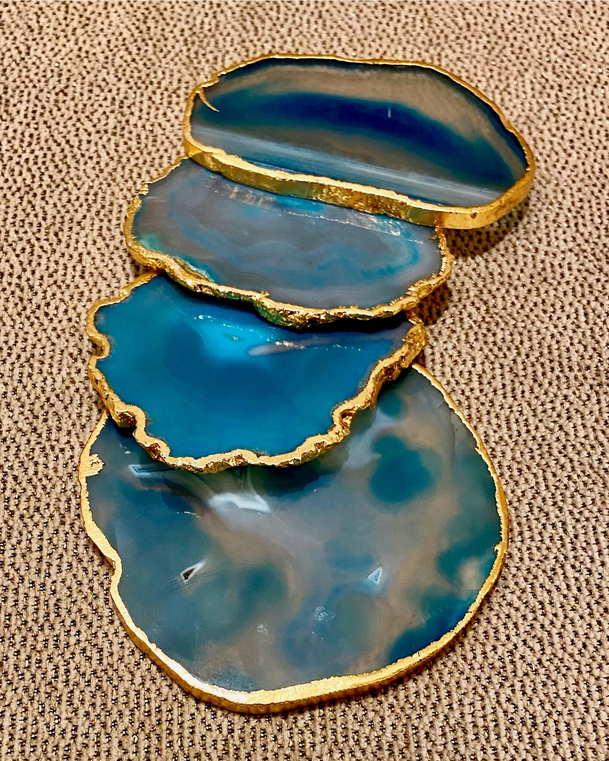 Aqua Agate Coasters - Set Of Four