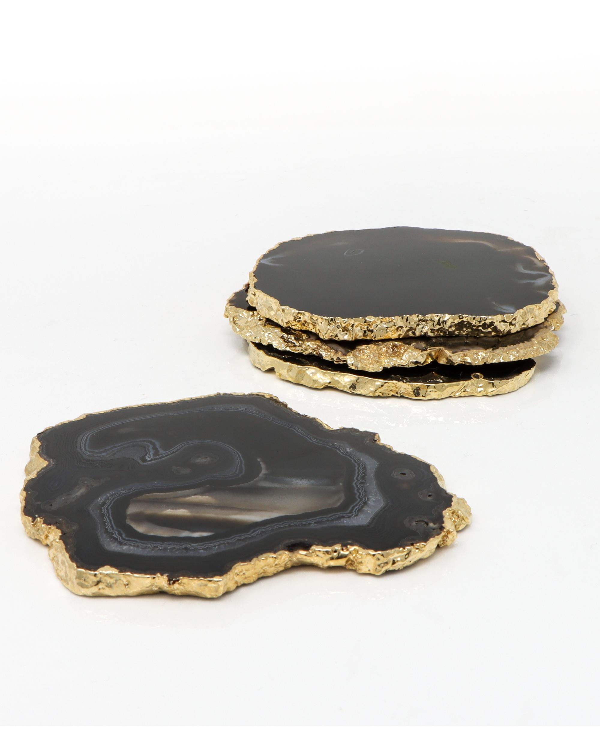 Black Agate Coasters - Set Of Four