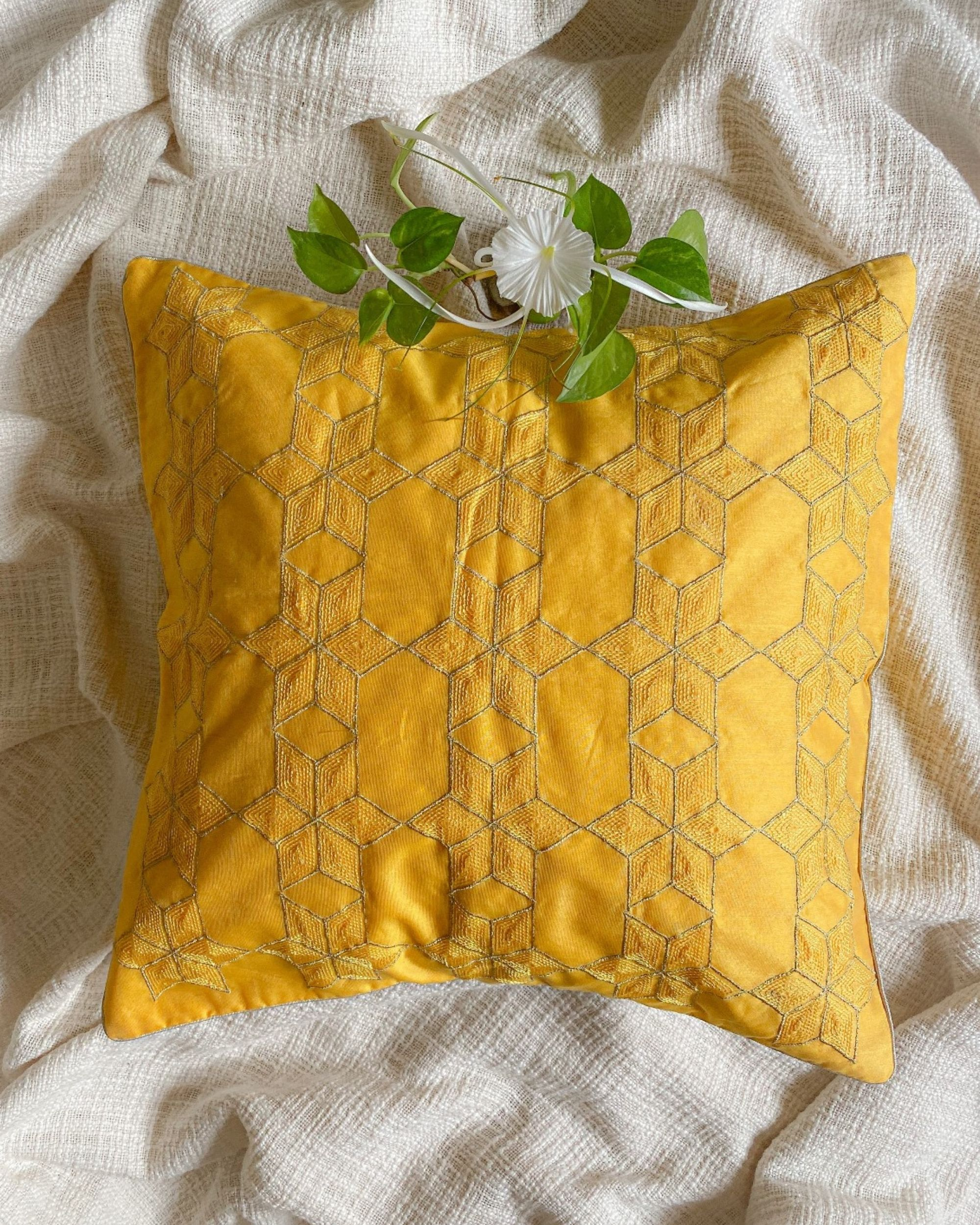 Yellow star embroidered cushion cover