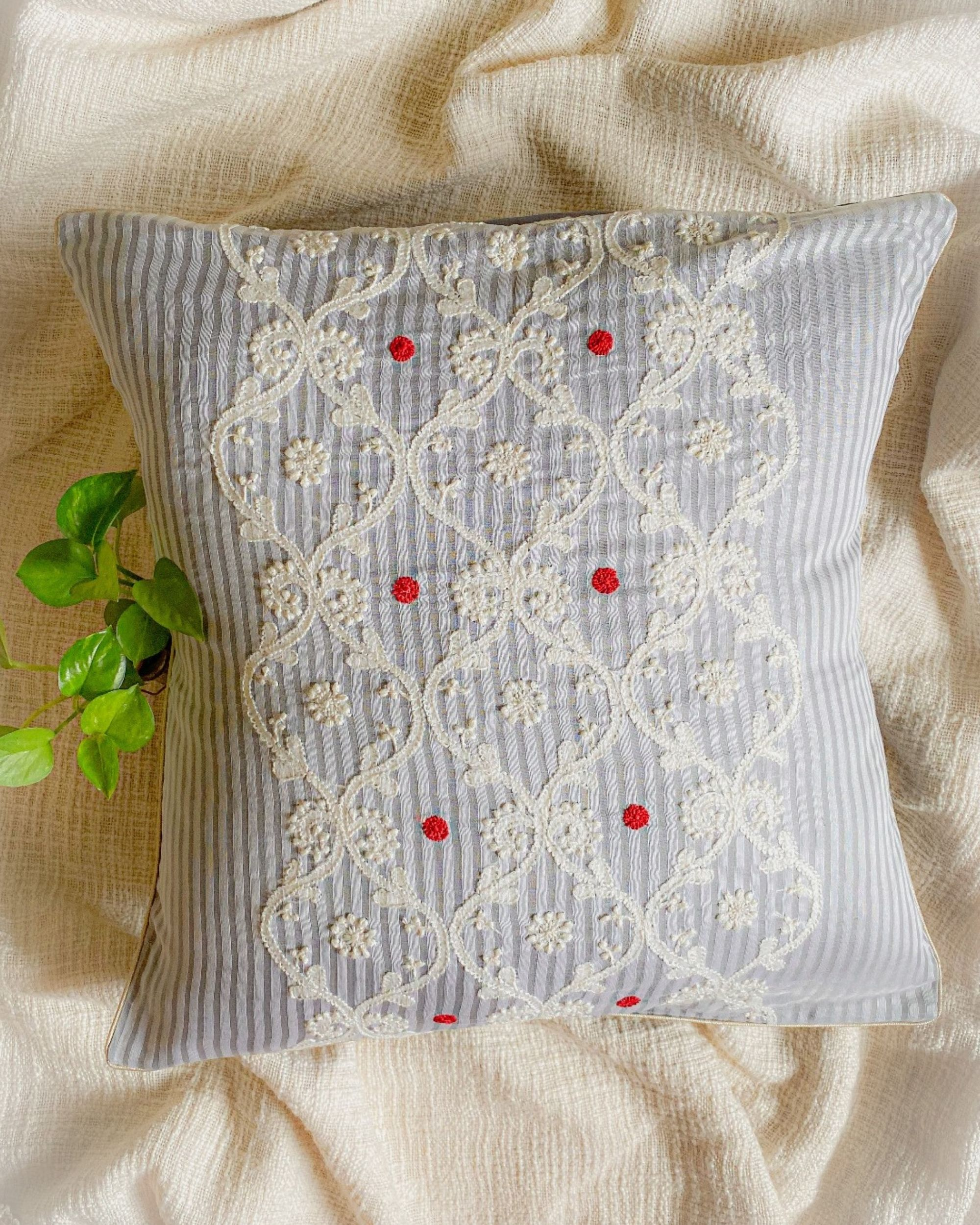 Light grey and white ivy embroidered cushion cover