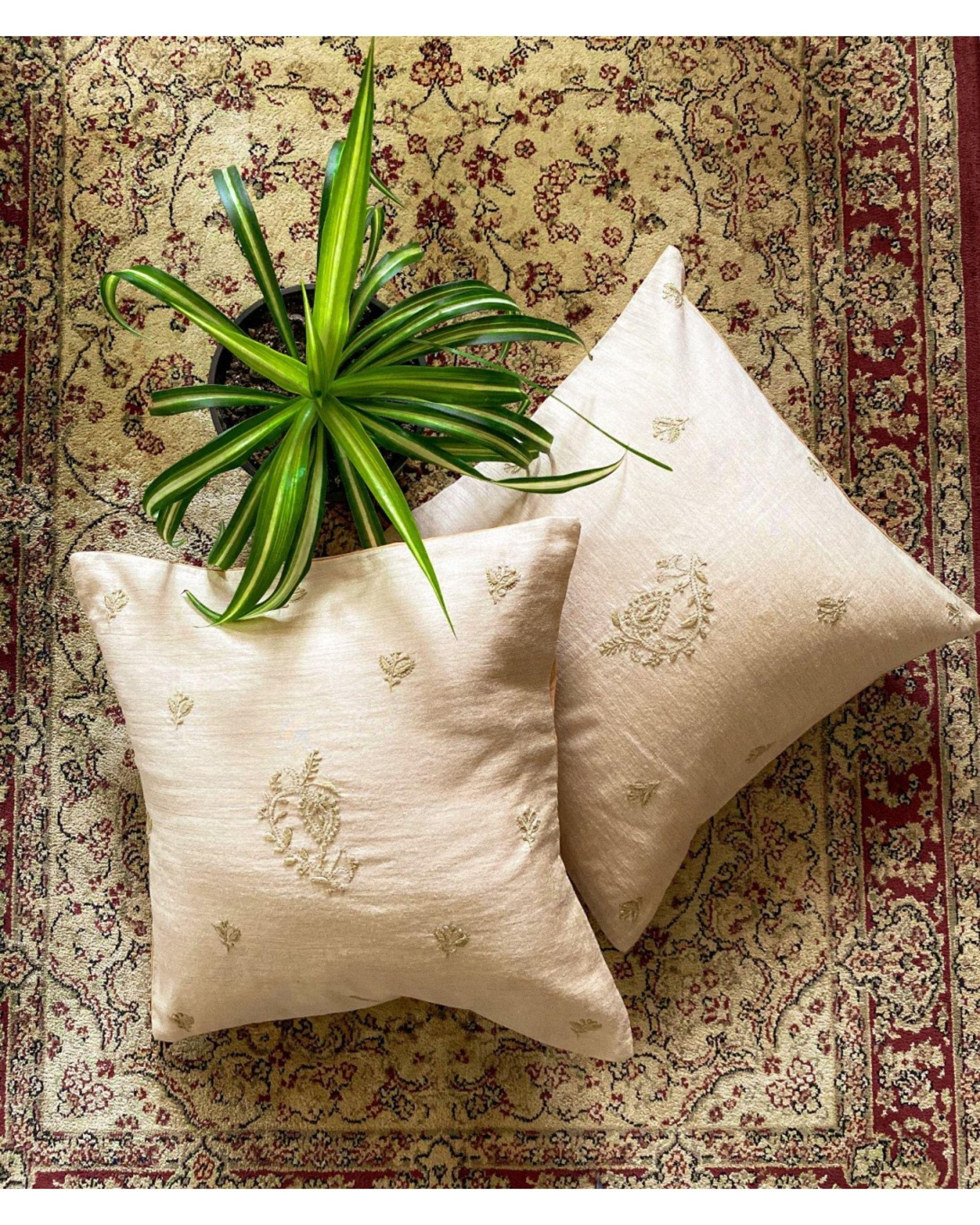 Beige foxglove hand embroidered cushion cover
