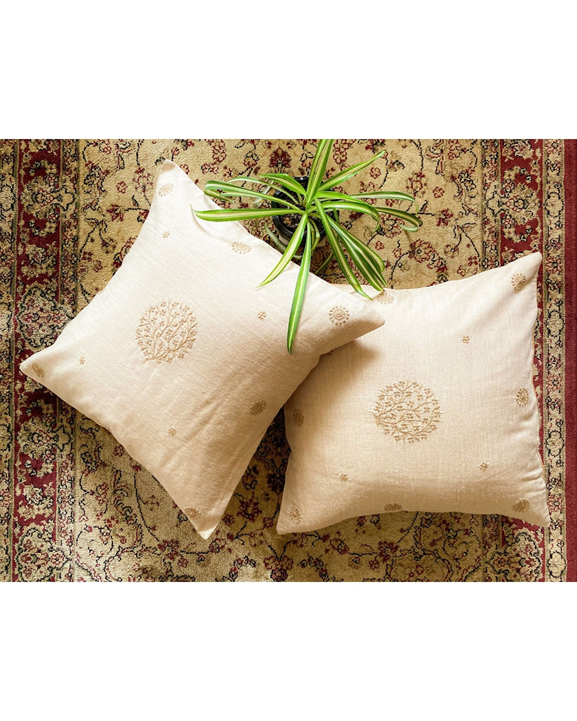 Beige floral hand embroidered cushion cover