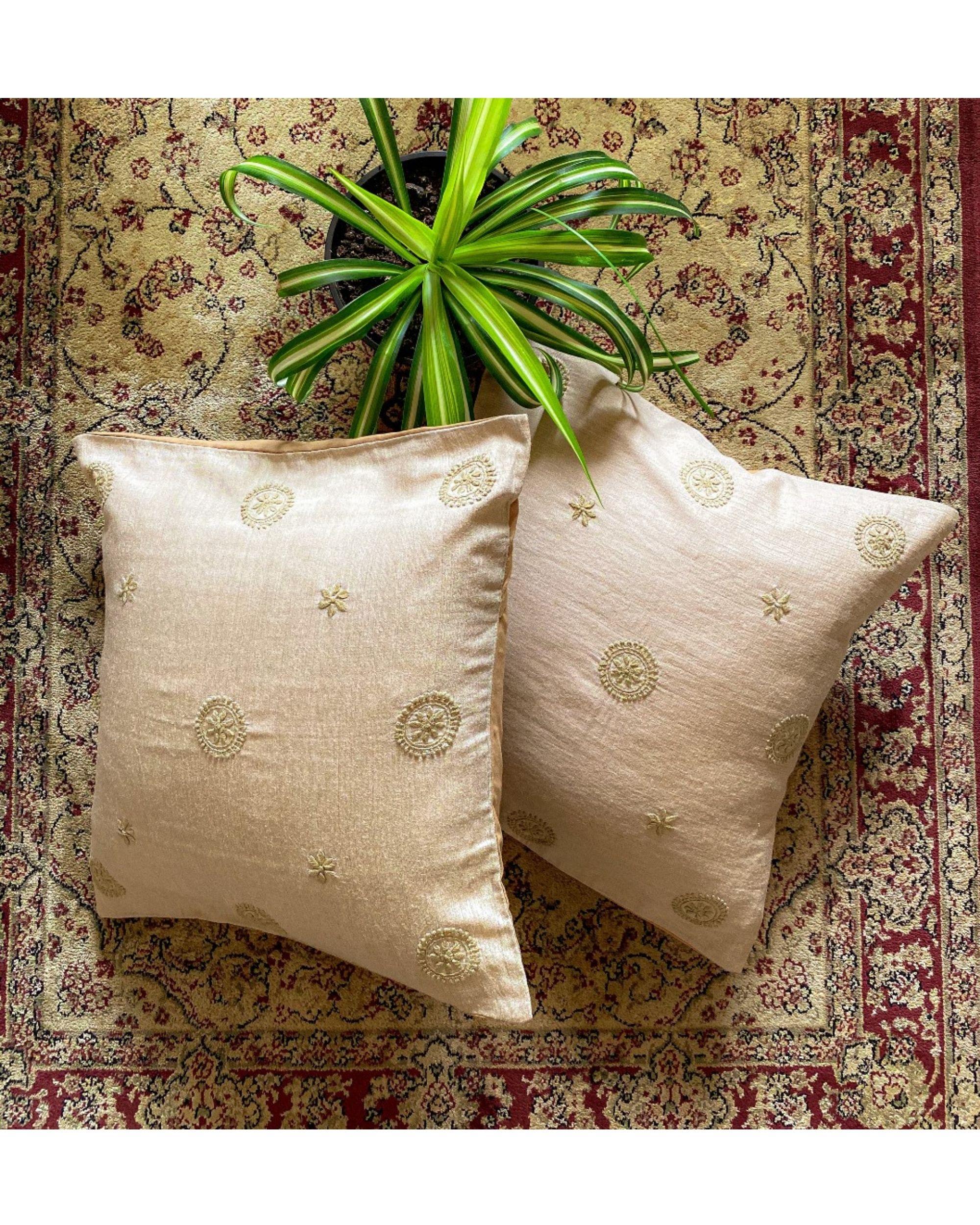 Beige calendula hand embroidered cushion cover