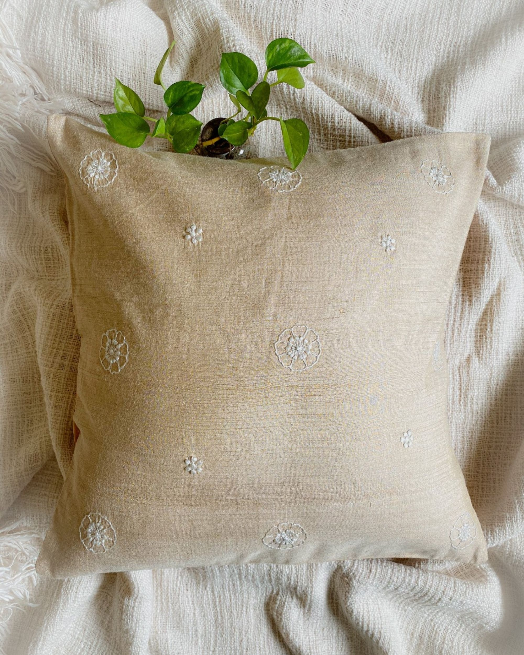 Beige poppy hand embroidered cushion cover