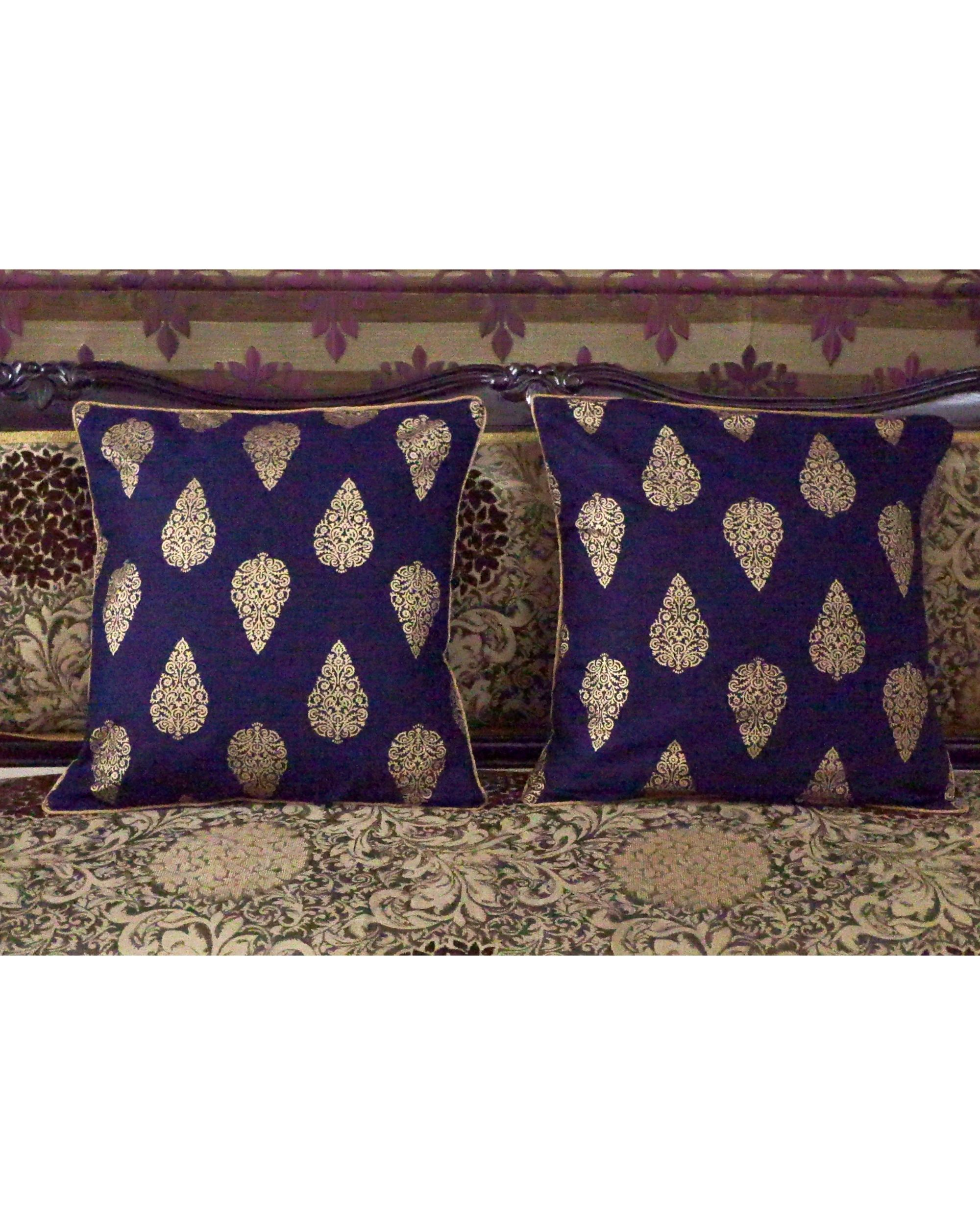 Blue buti printed cushion covers (small) - Set Of Four