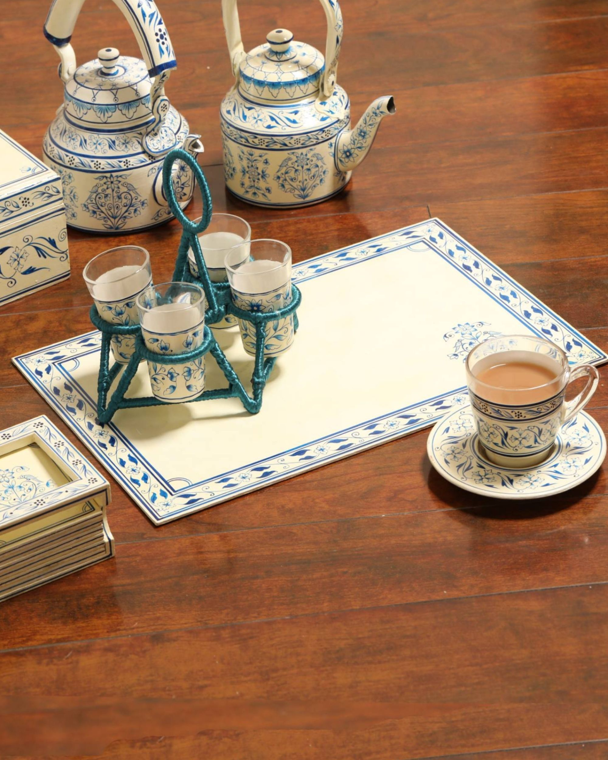 White and blue hand painted placemats - set Of Two