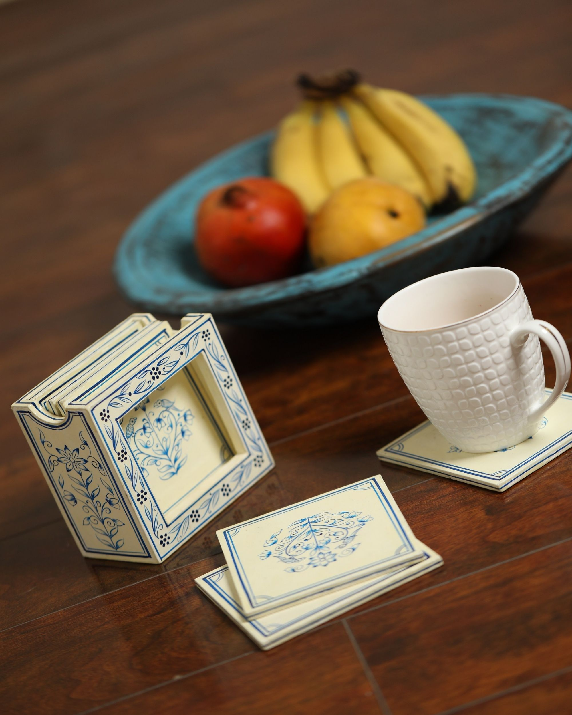 White and blue hand painted coasters with stand - Set Of Five