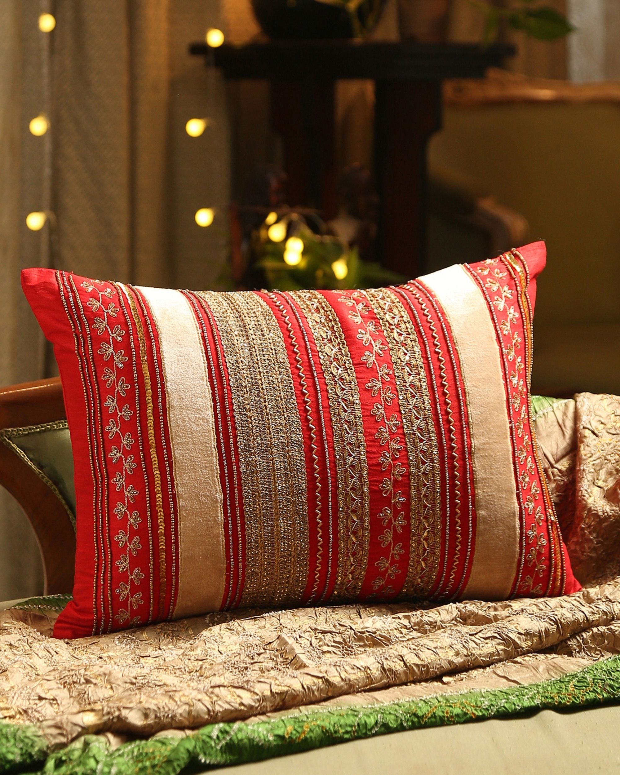 Red embroidered hand beaded cushion cover