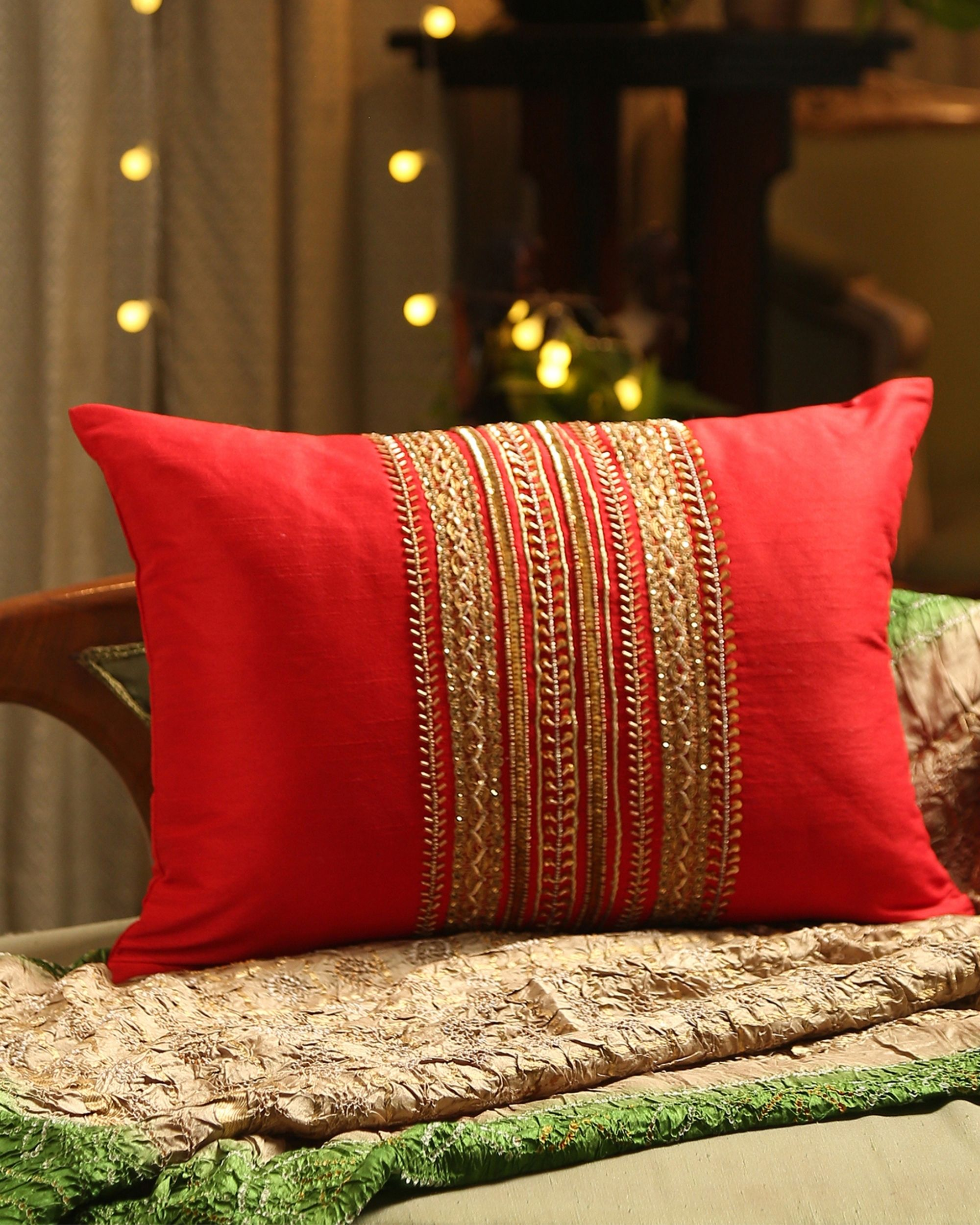 Red beaded zari lace cushion cover