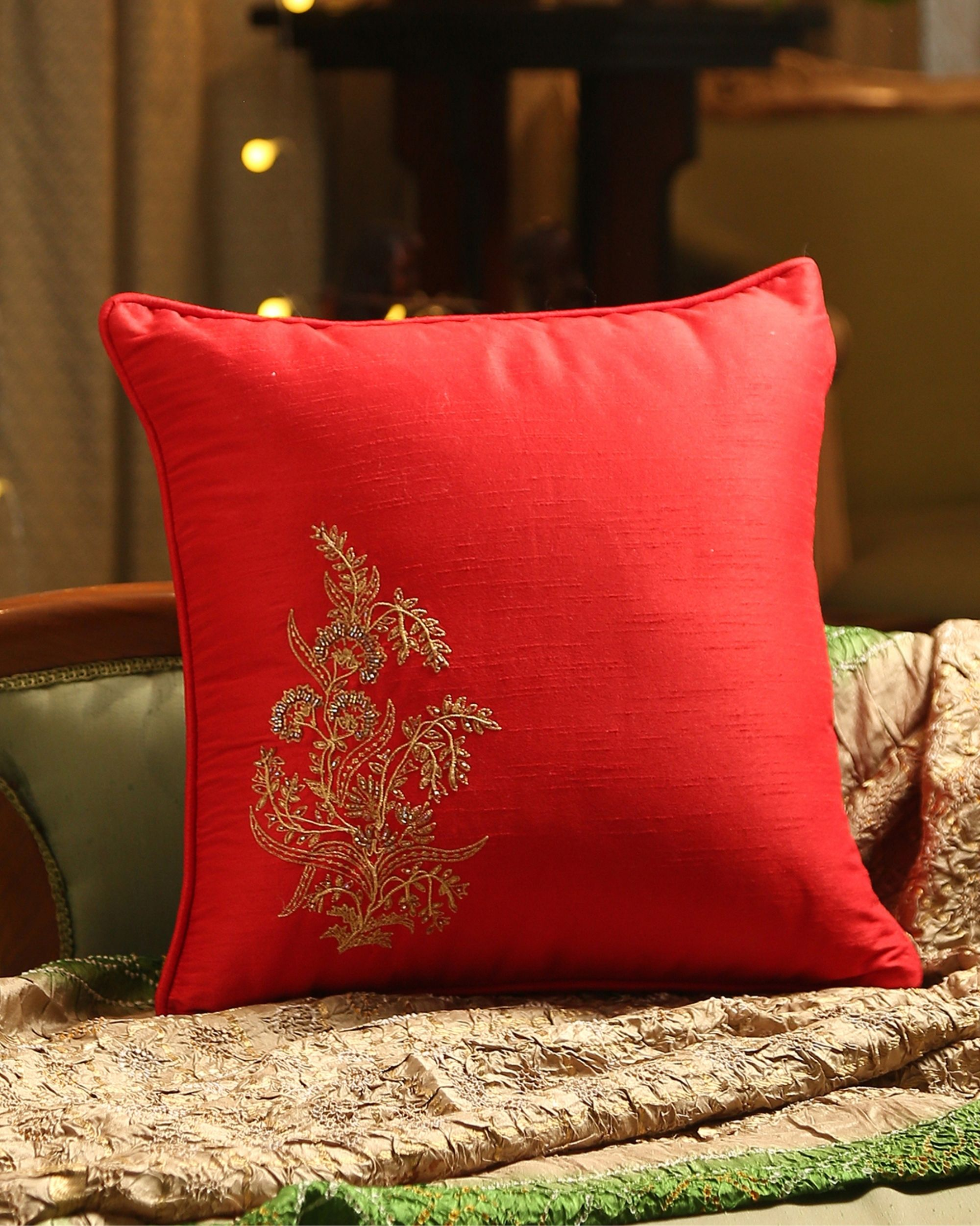 Red hand embroidered beaded cushion cover
