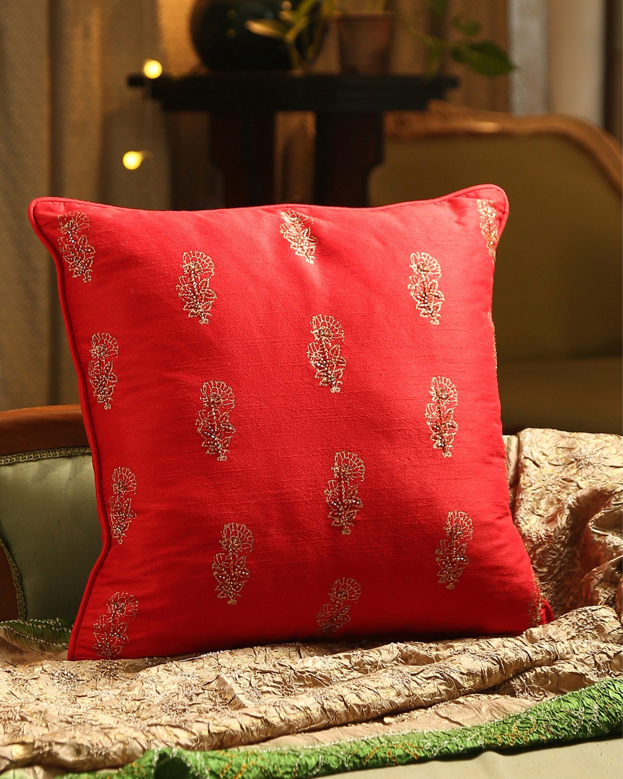Red block printed beaded cushion cover