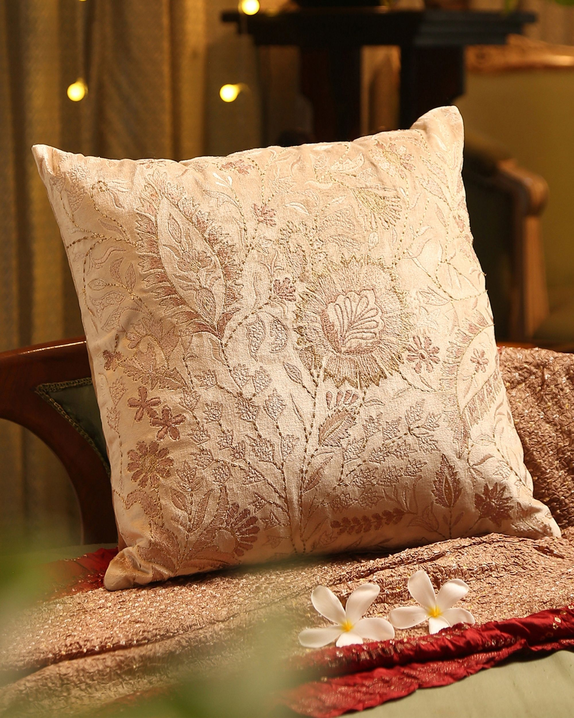 Beige floral and leaf embroidered cushion cover