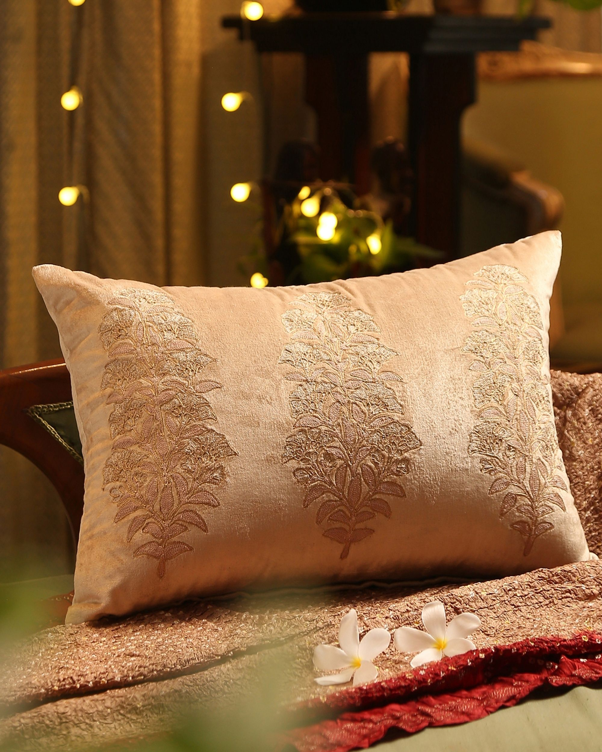Beige floral embroidered cushion cover