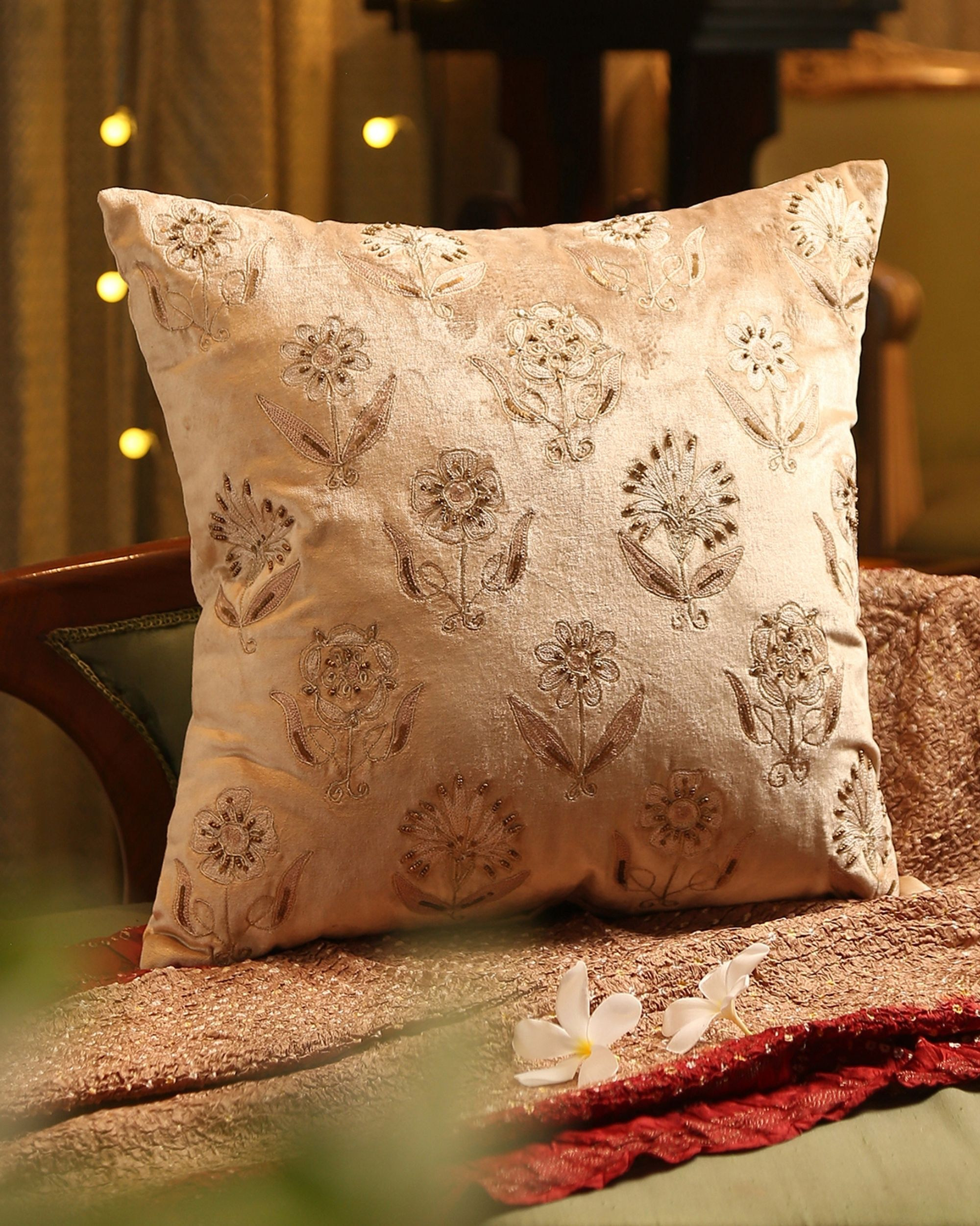 Beige floral beaded embroidered cushion cover