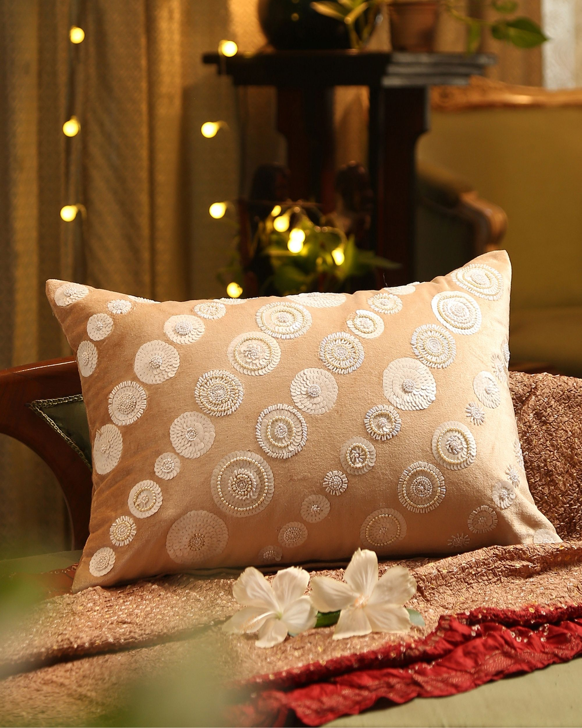 Beige and white sequined beaded cushion cover