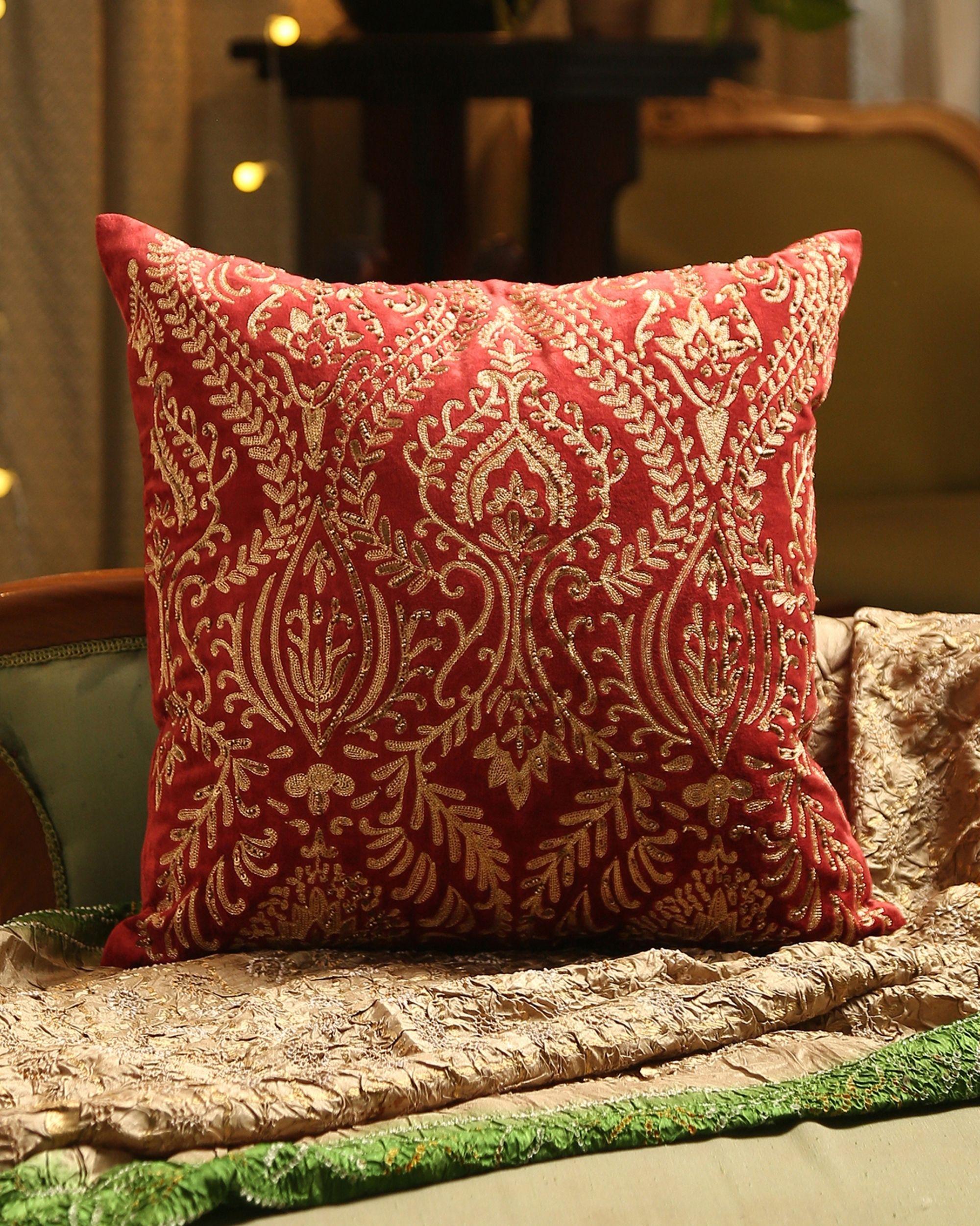 Burgundy zari embroidered cushion cover