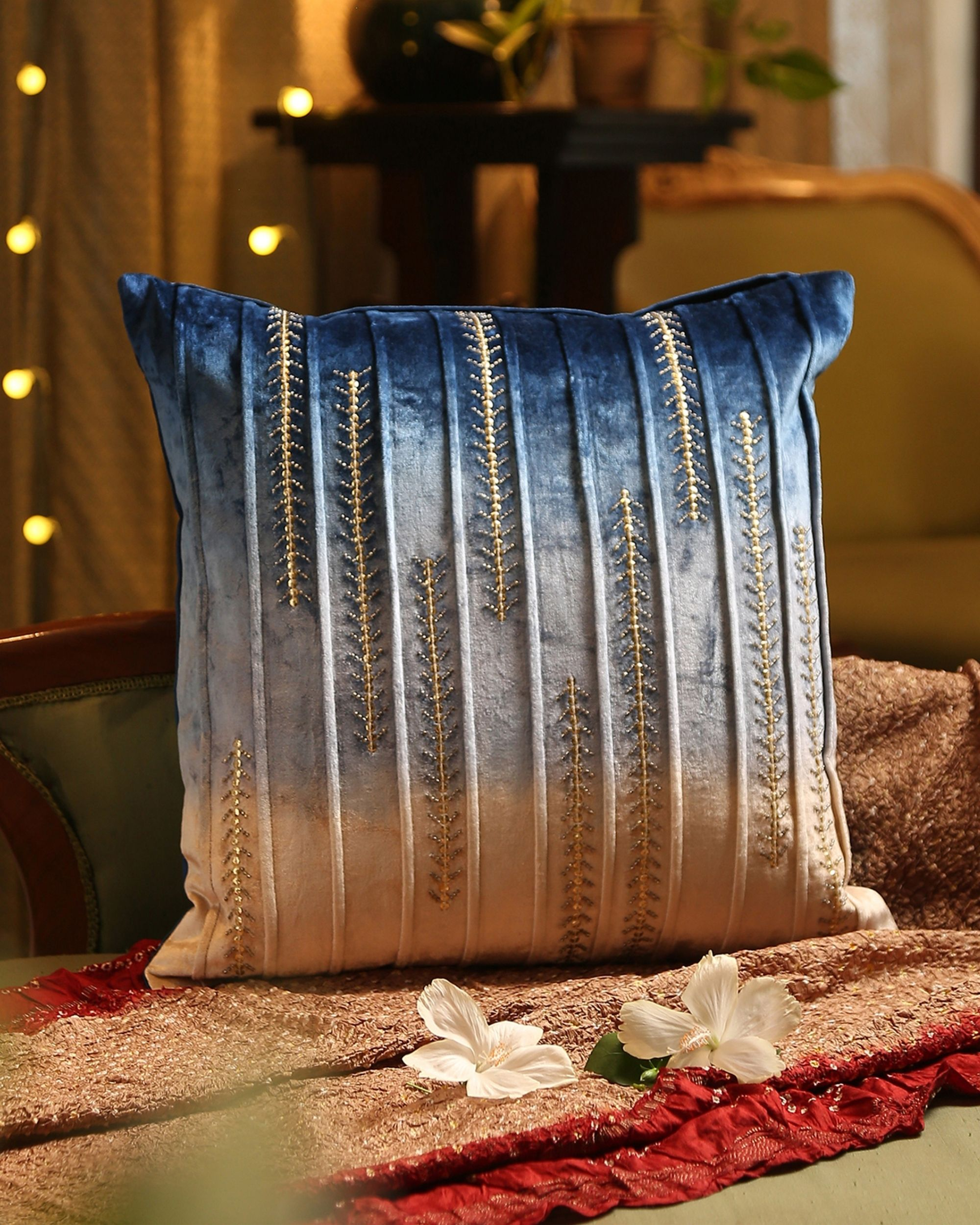 Blue and beige ombre beaded cushion cover