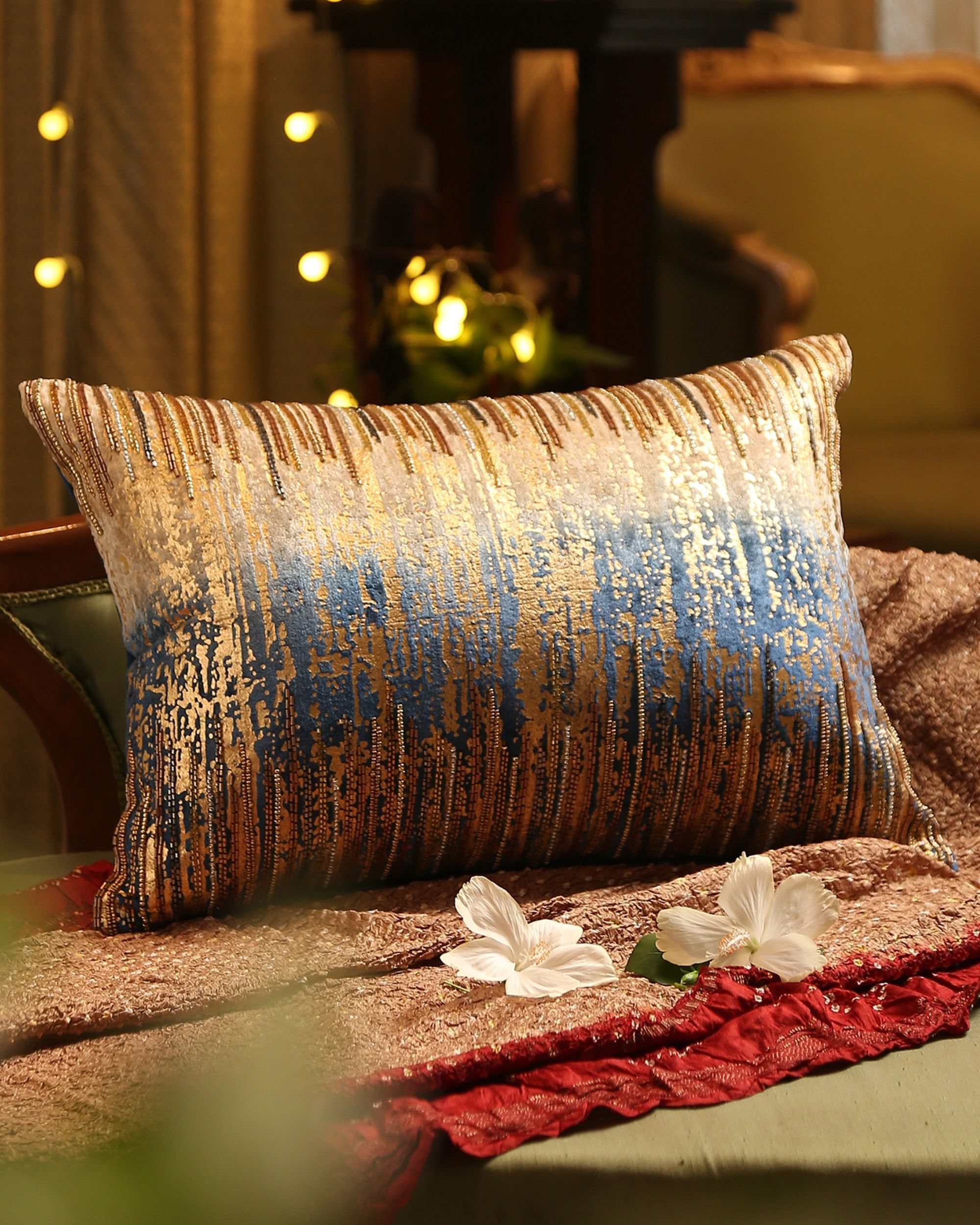 Beige and blue ombre beaded cushion cover