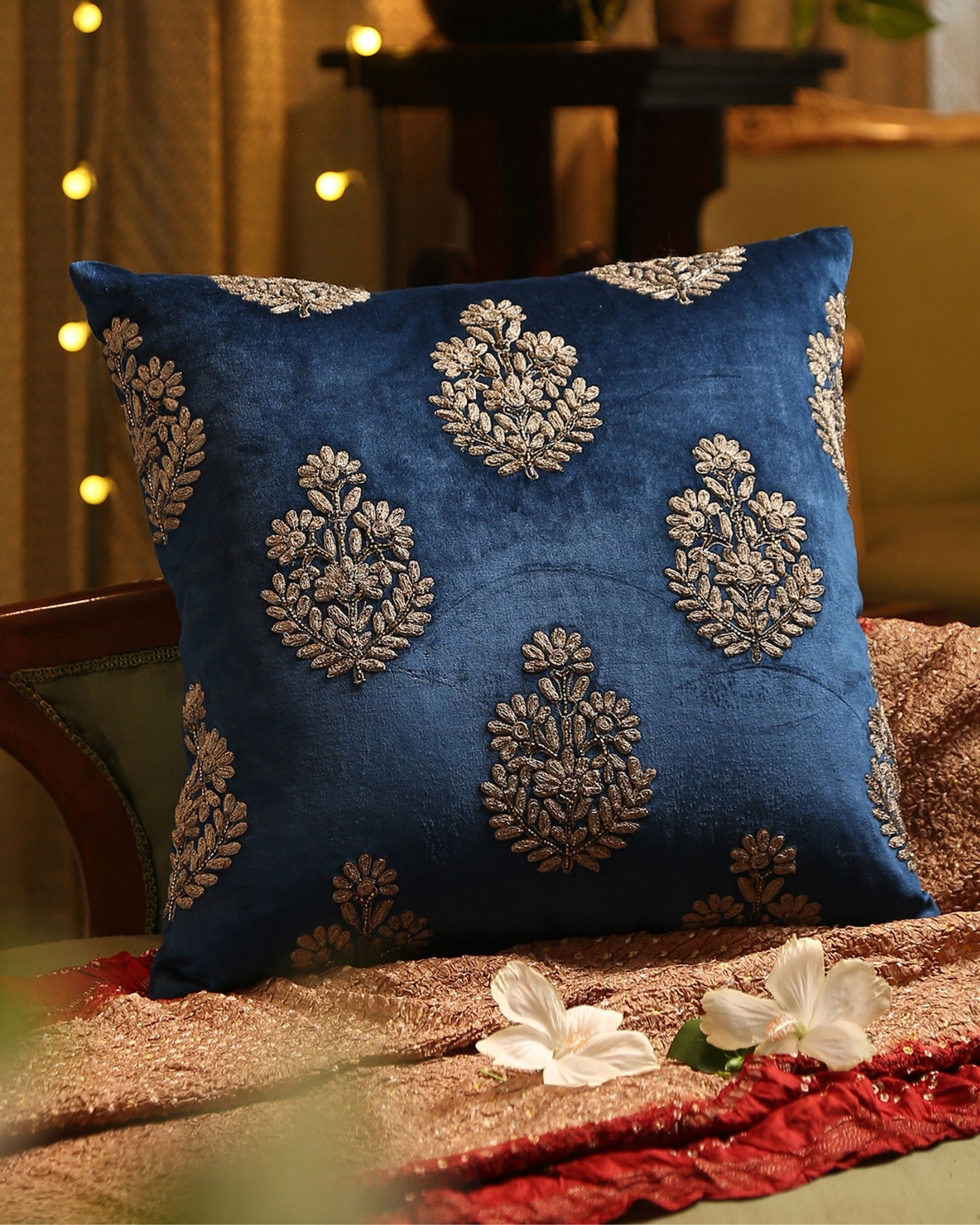 Blue zari embroidered beaded cushion cover