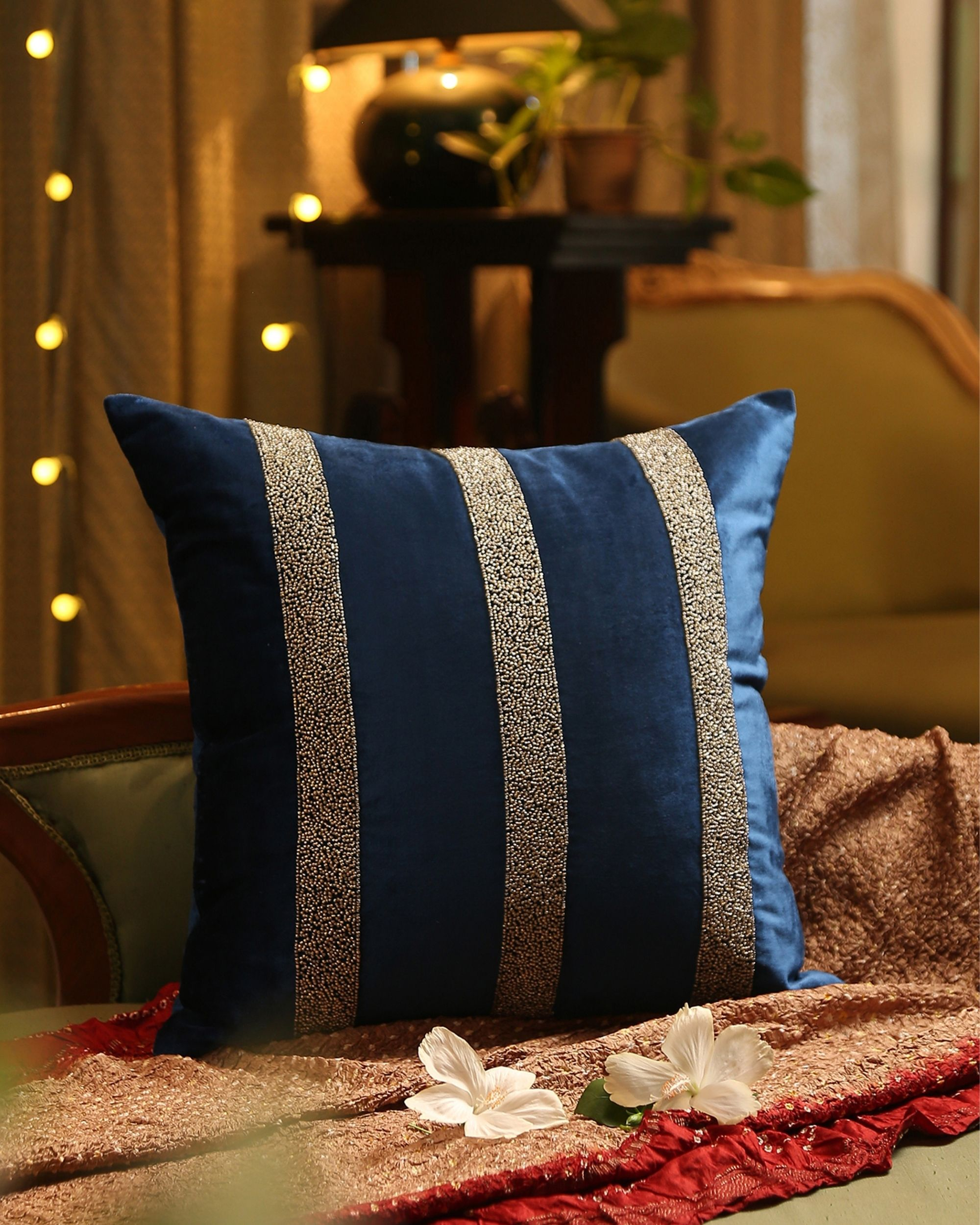 Blue striped hand beaded cushion cover