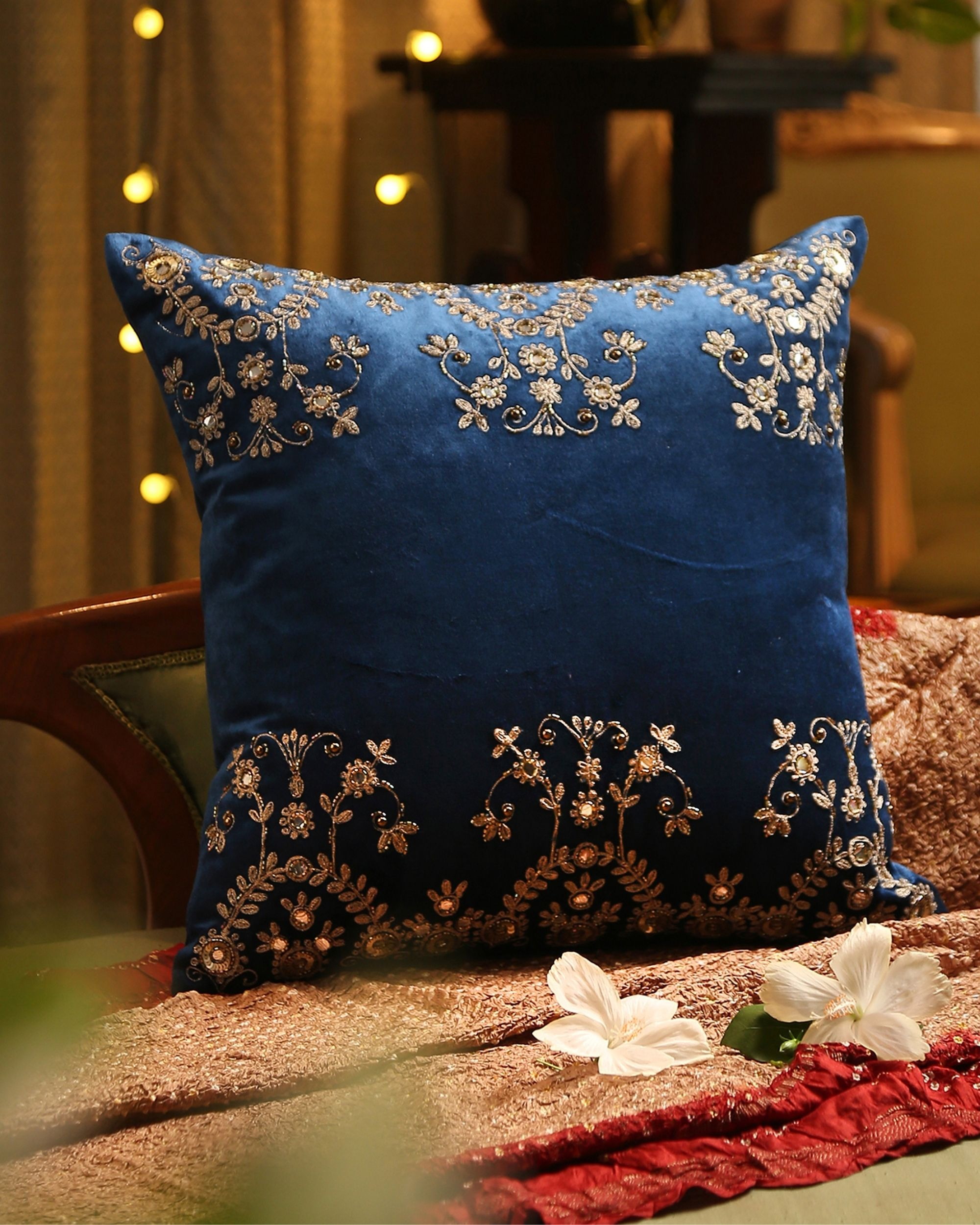 Blue zari embroidered sequined cushion cover