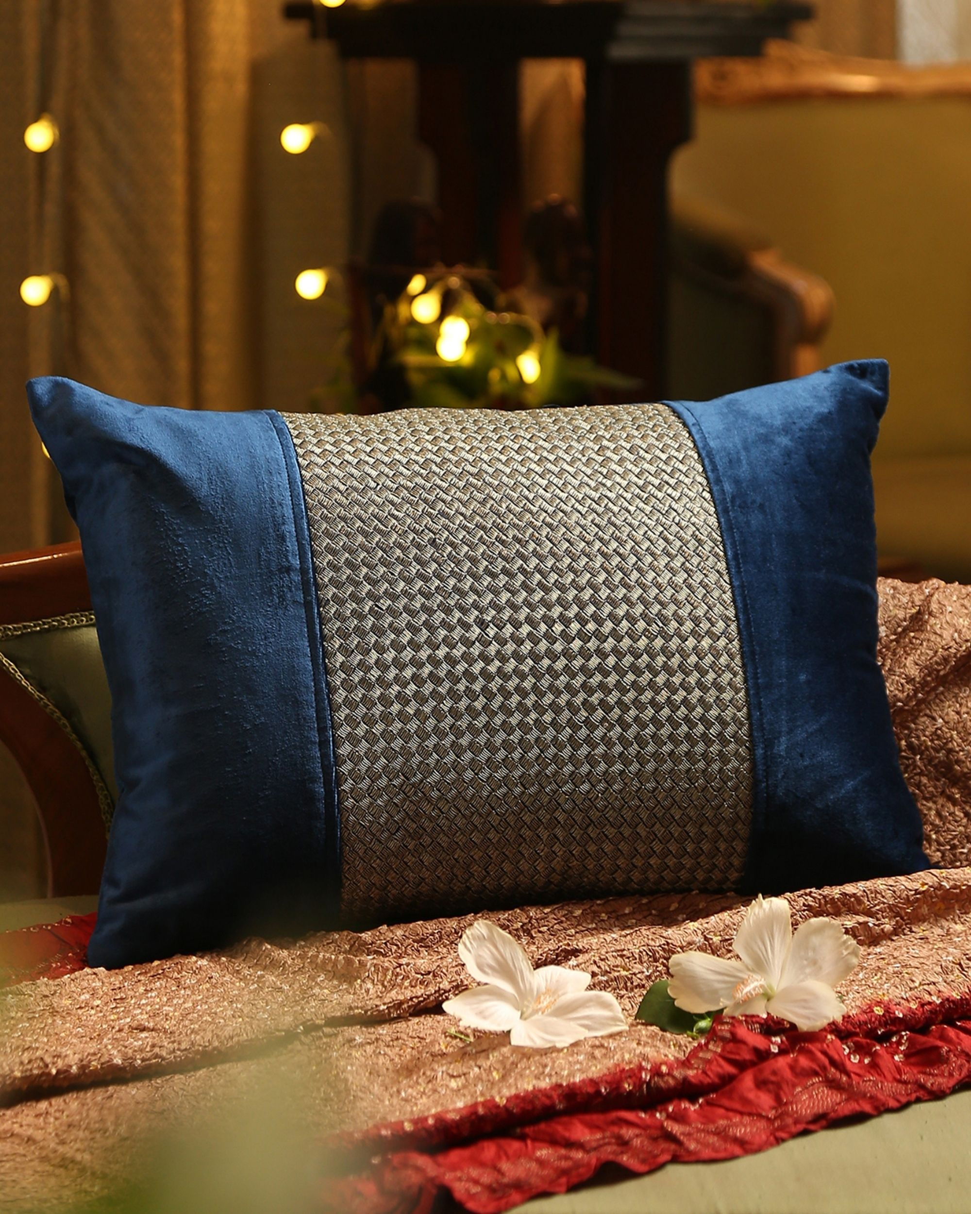 Blue zari embroidered cushion cover