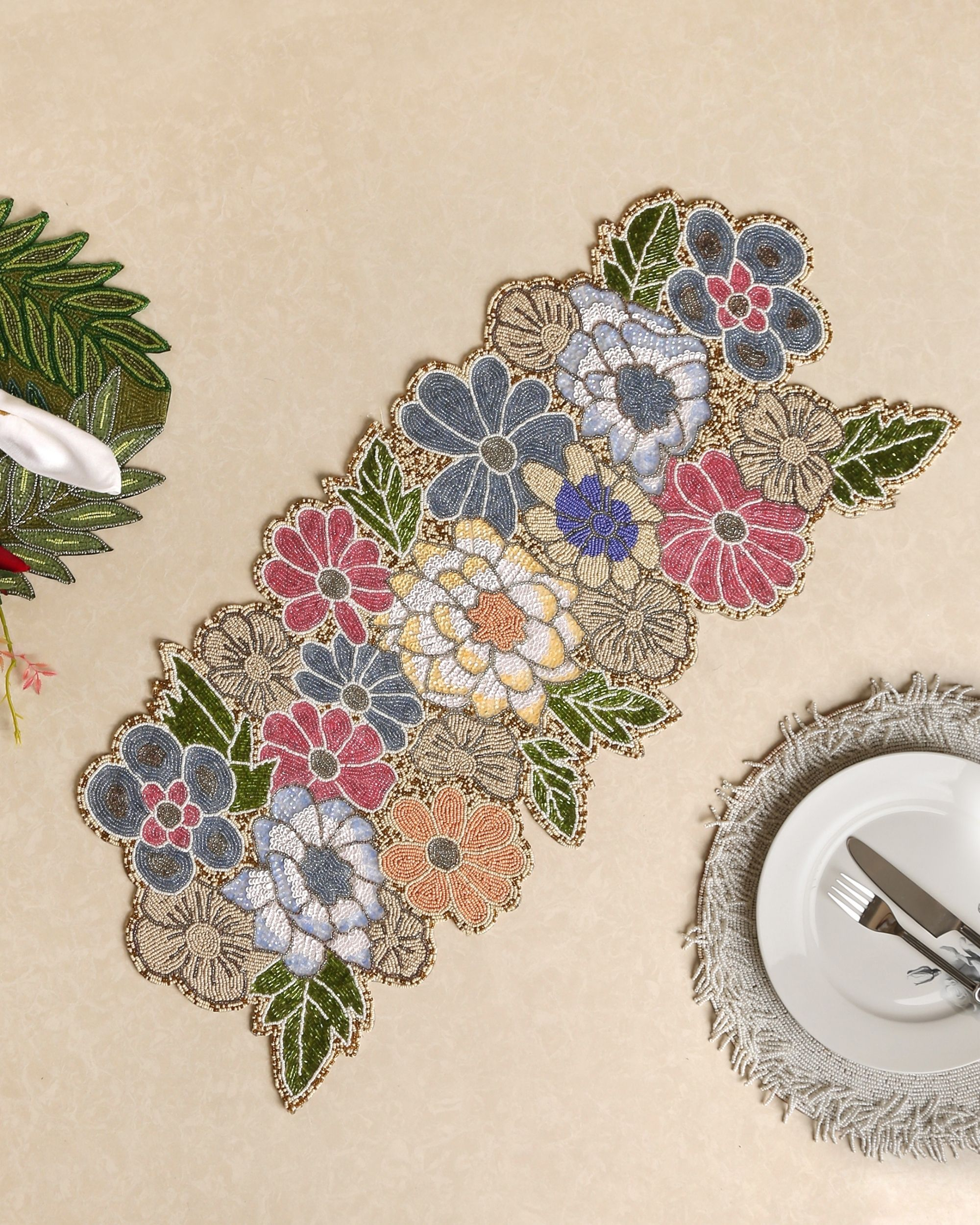 Multicolour floral and leaf motif table runner