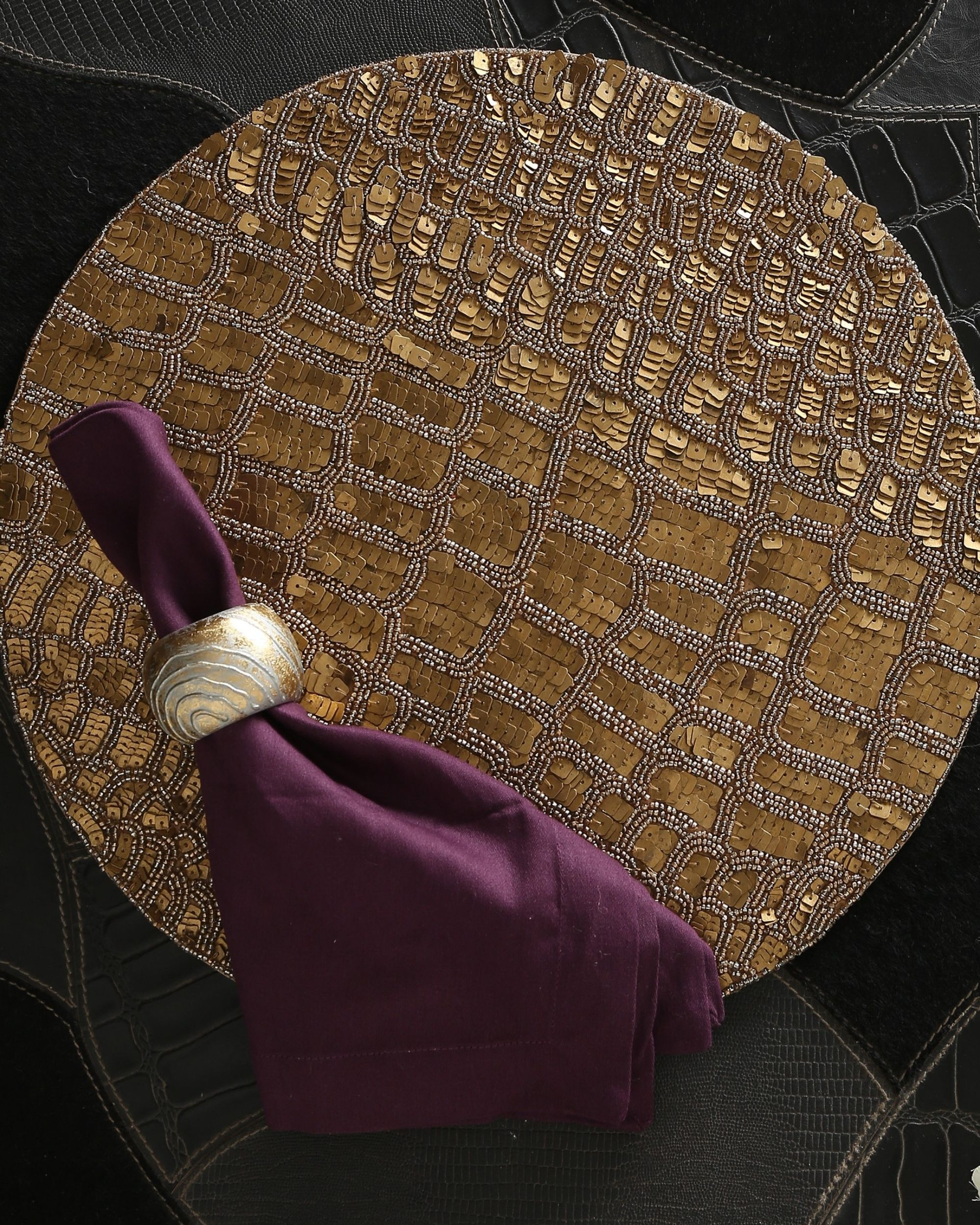 Handcrafted sequined table mat