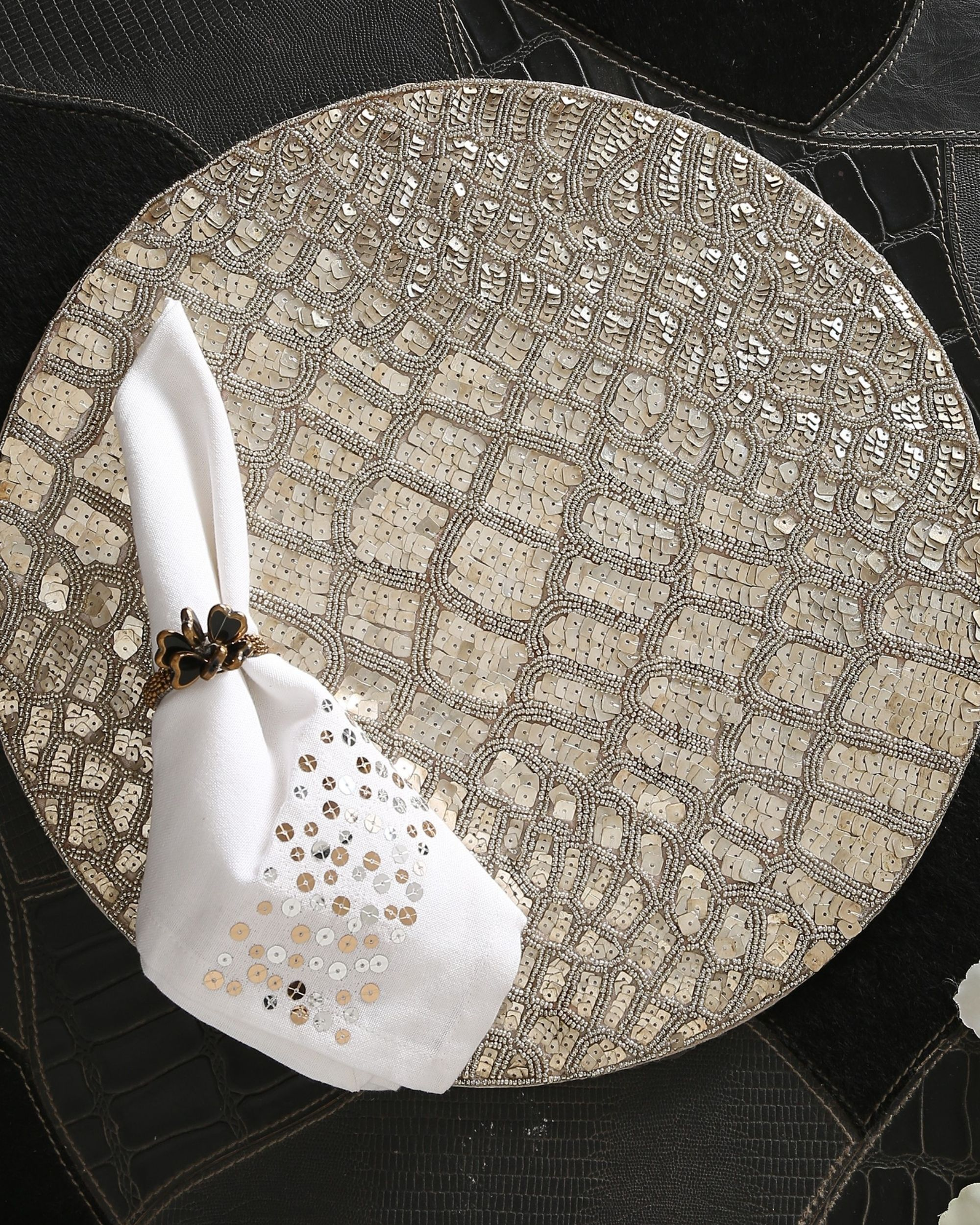 Hand beaded sequined table mat