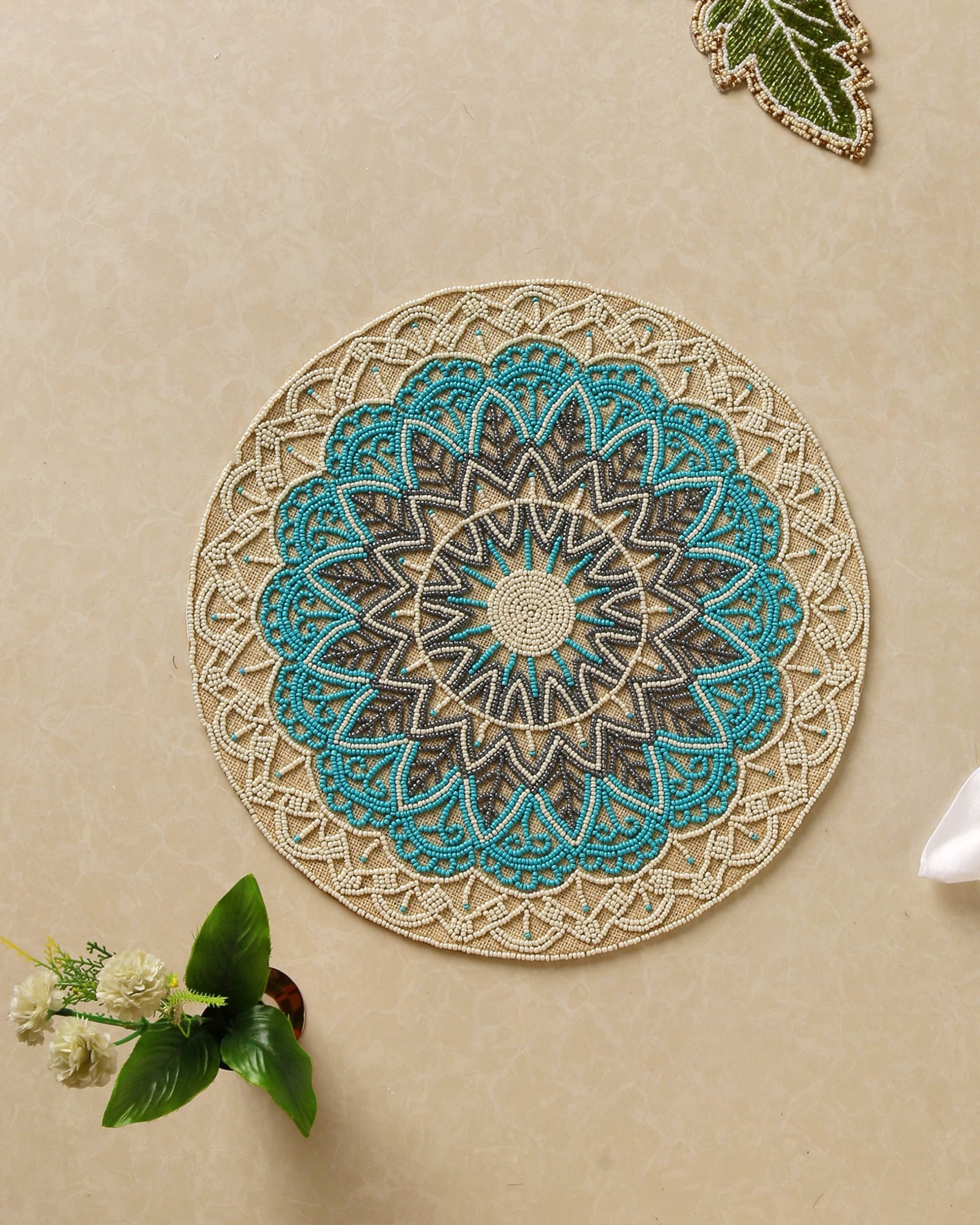 Blue hand beaded jute table mat
