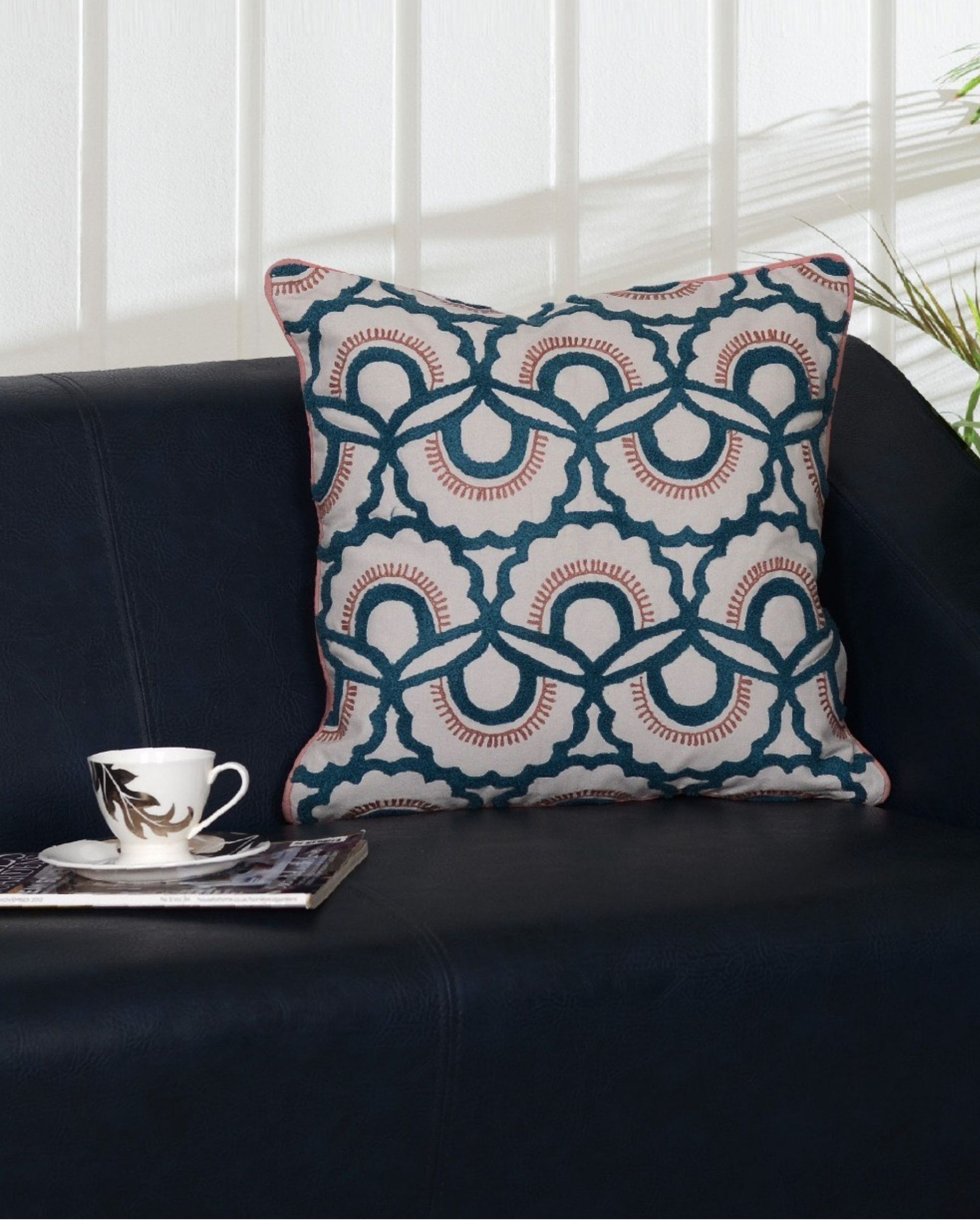 Blue and grey cushion cover