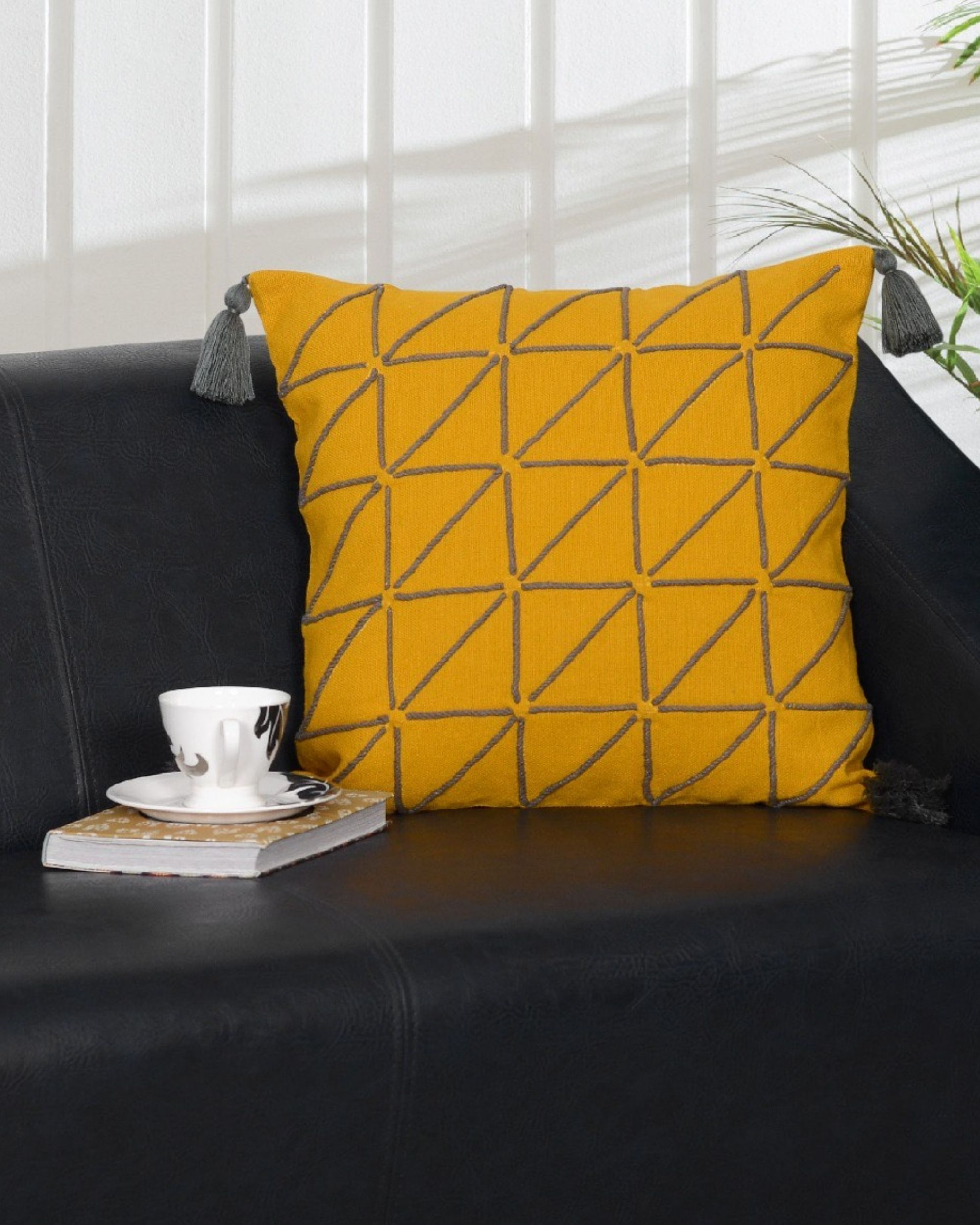 Bold yellow cushion cover