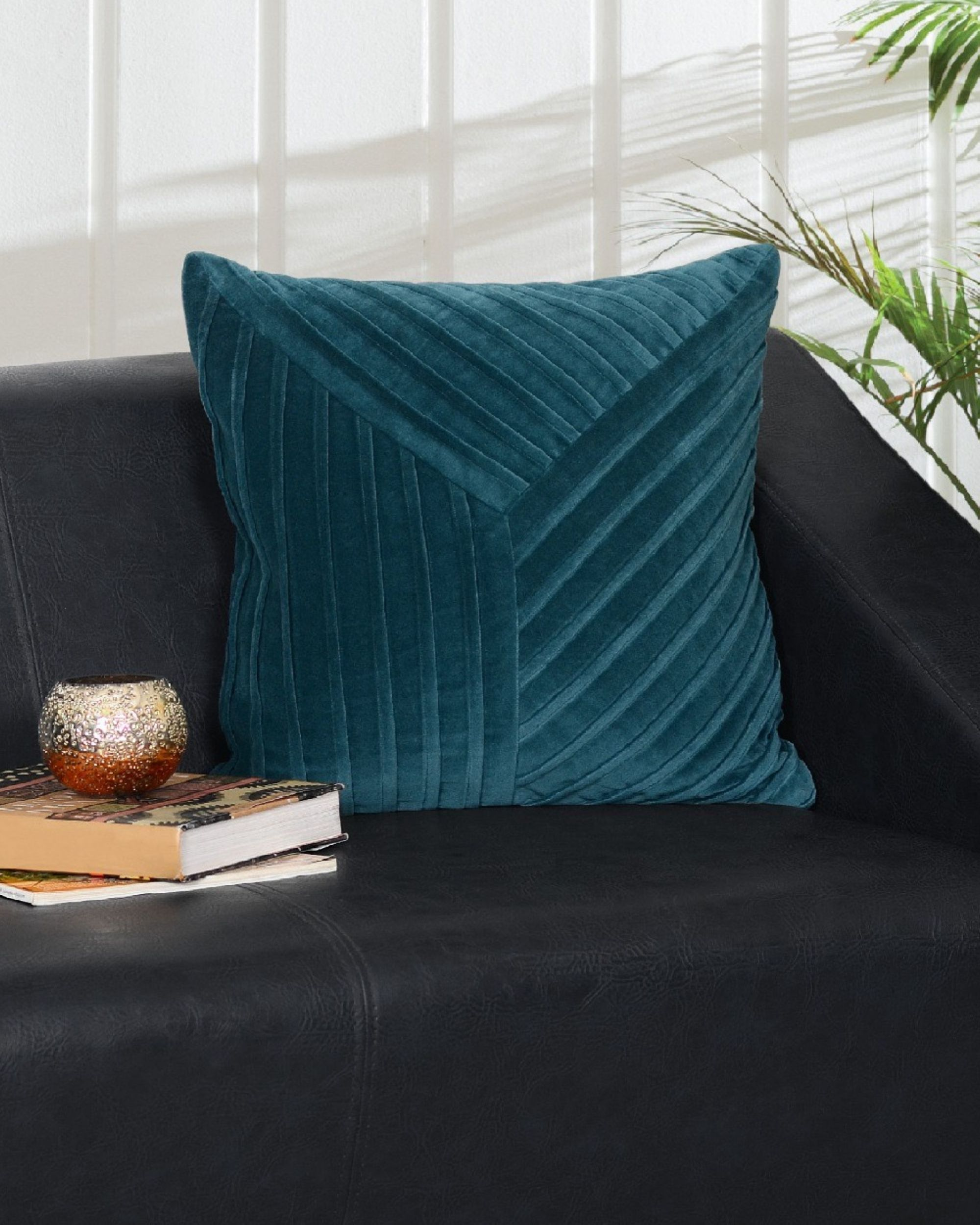 Turquoise striped cushion cover
