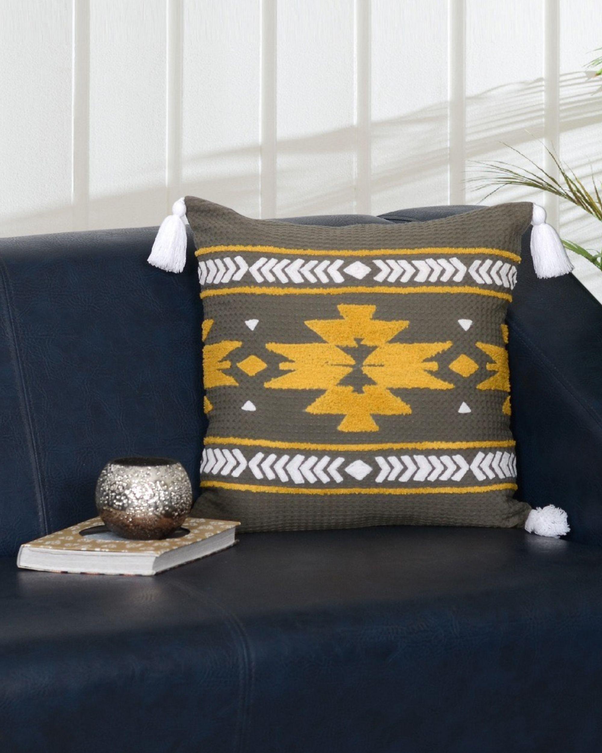 Striped grey cushion cover