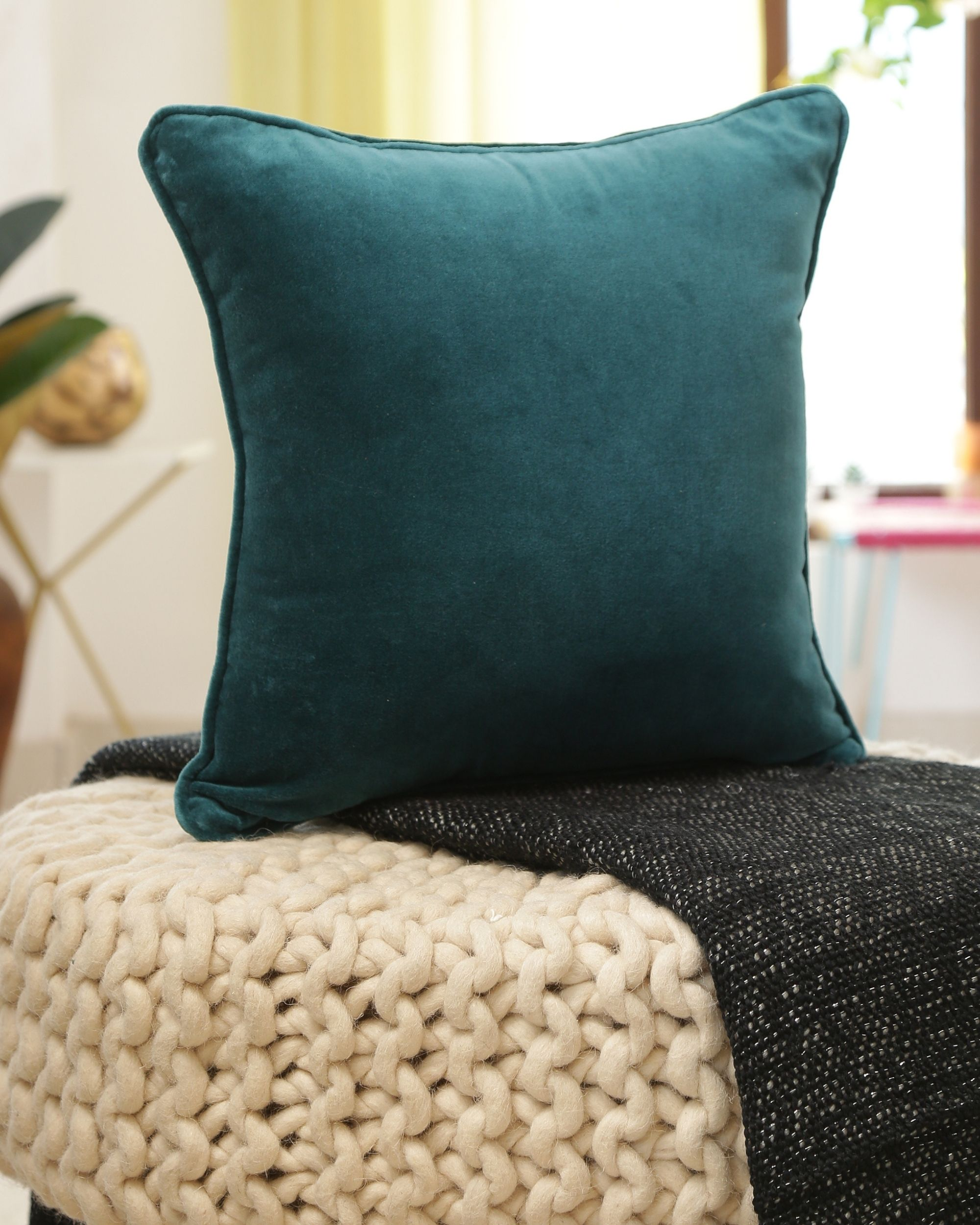 Teal cotton velvet cushion cover