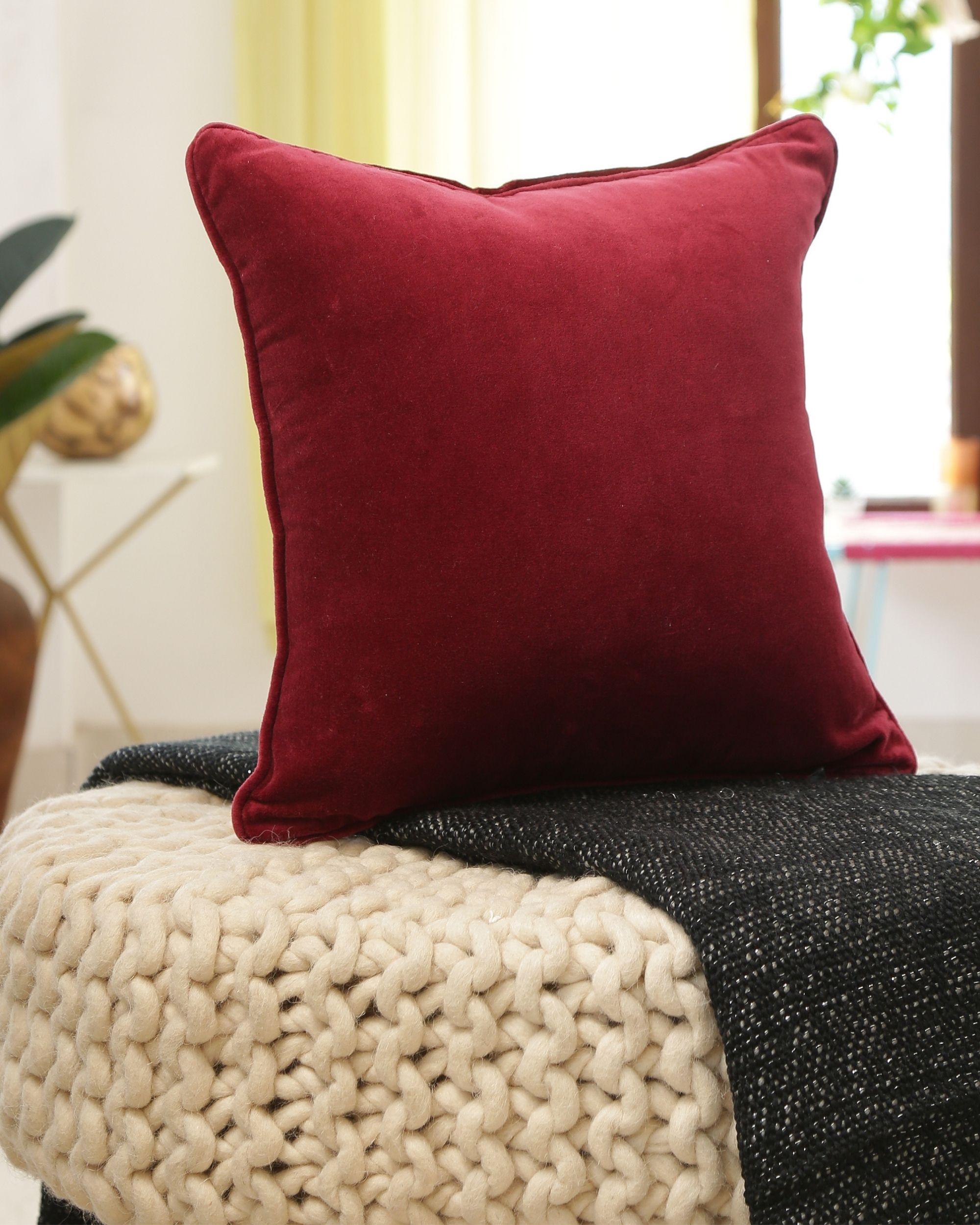 Burgundy cotton velvet cushion cover