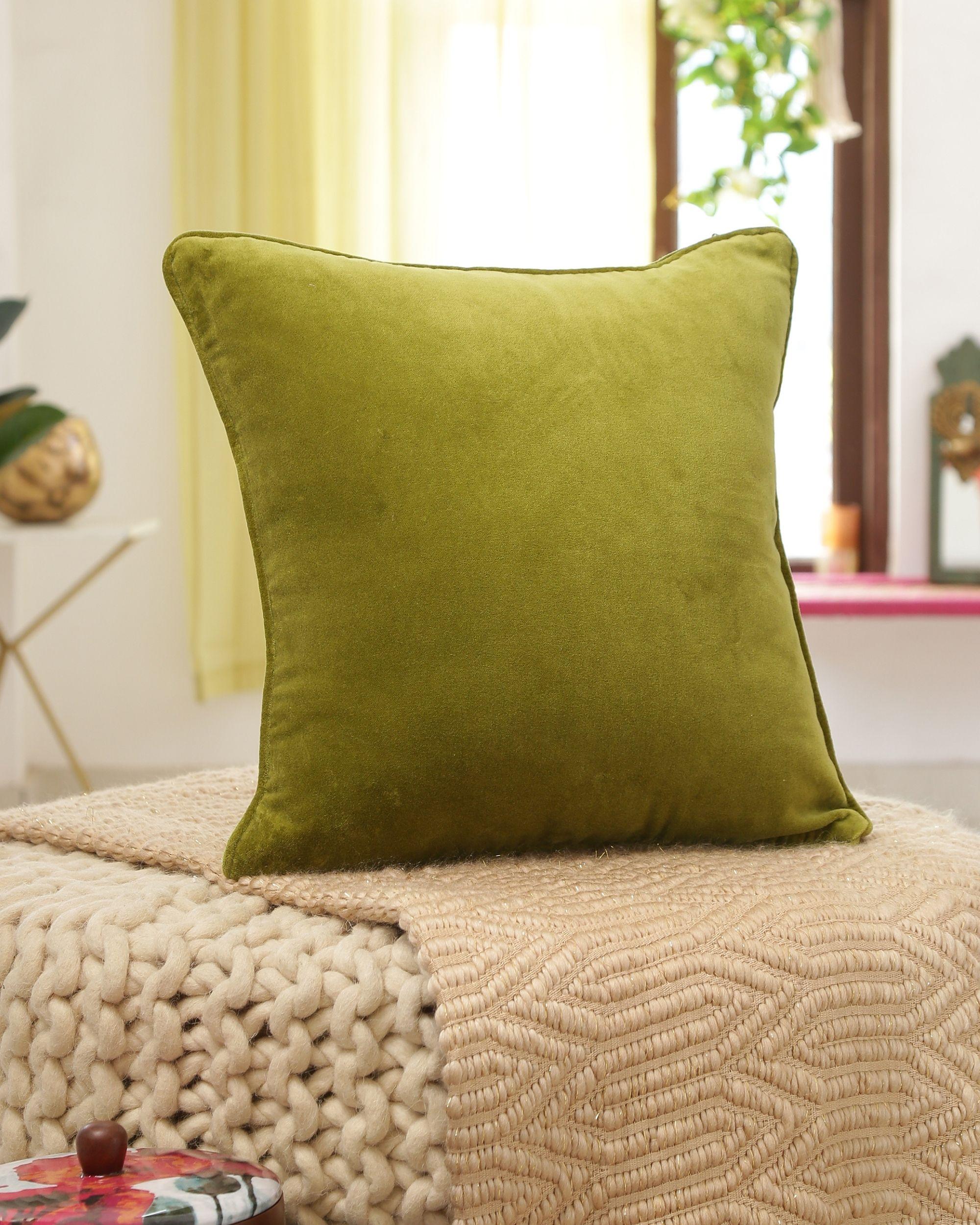 Green cotton velvet cushion cover