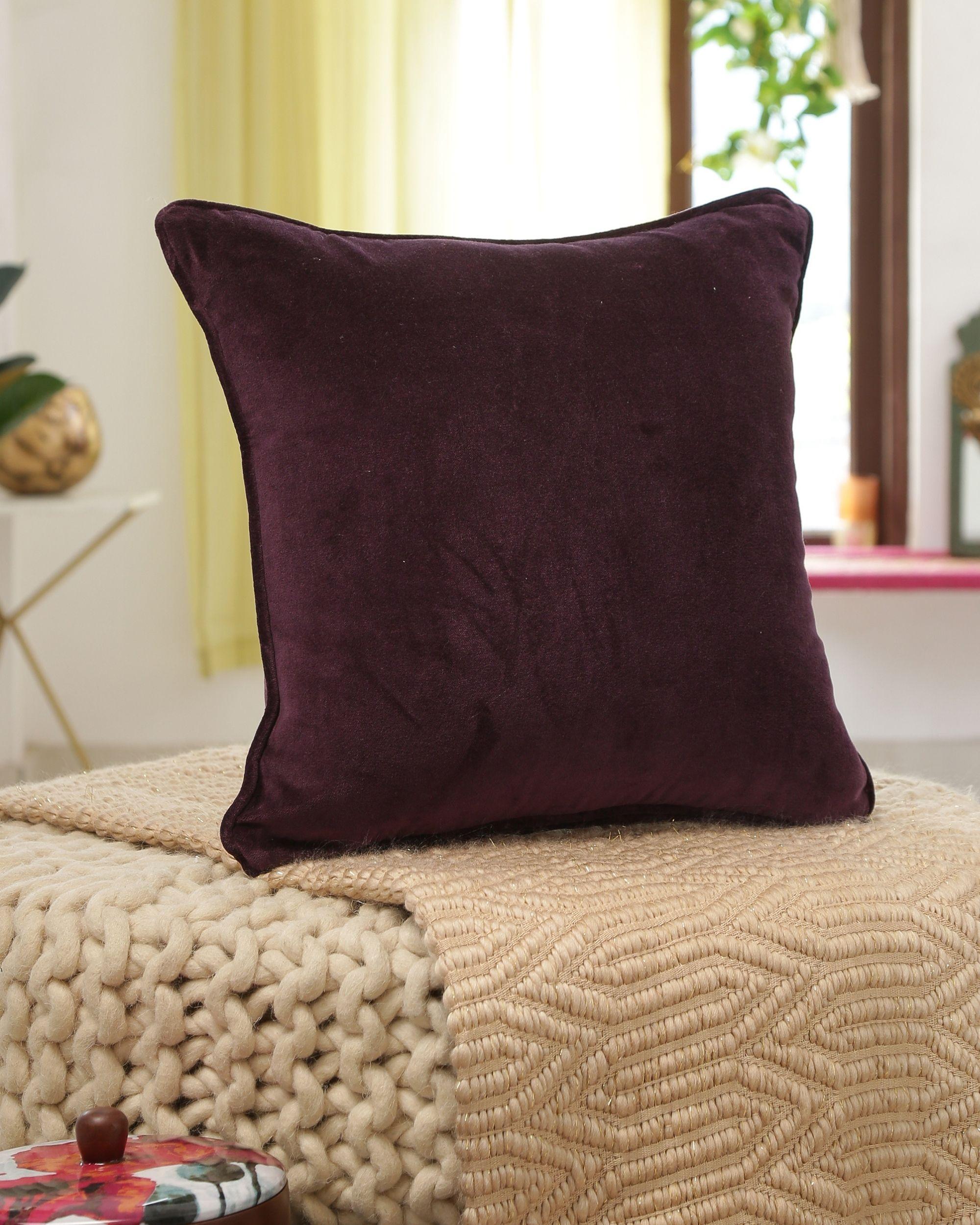 Deep violet cotton velvet cushion cover