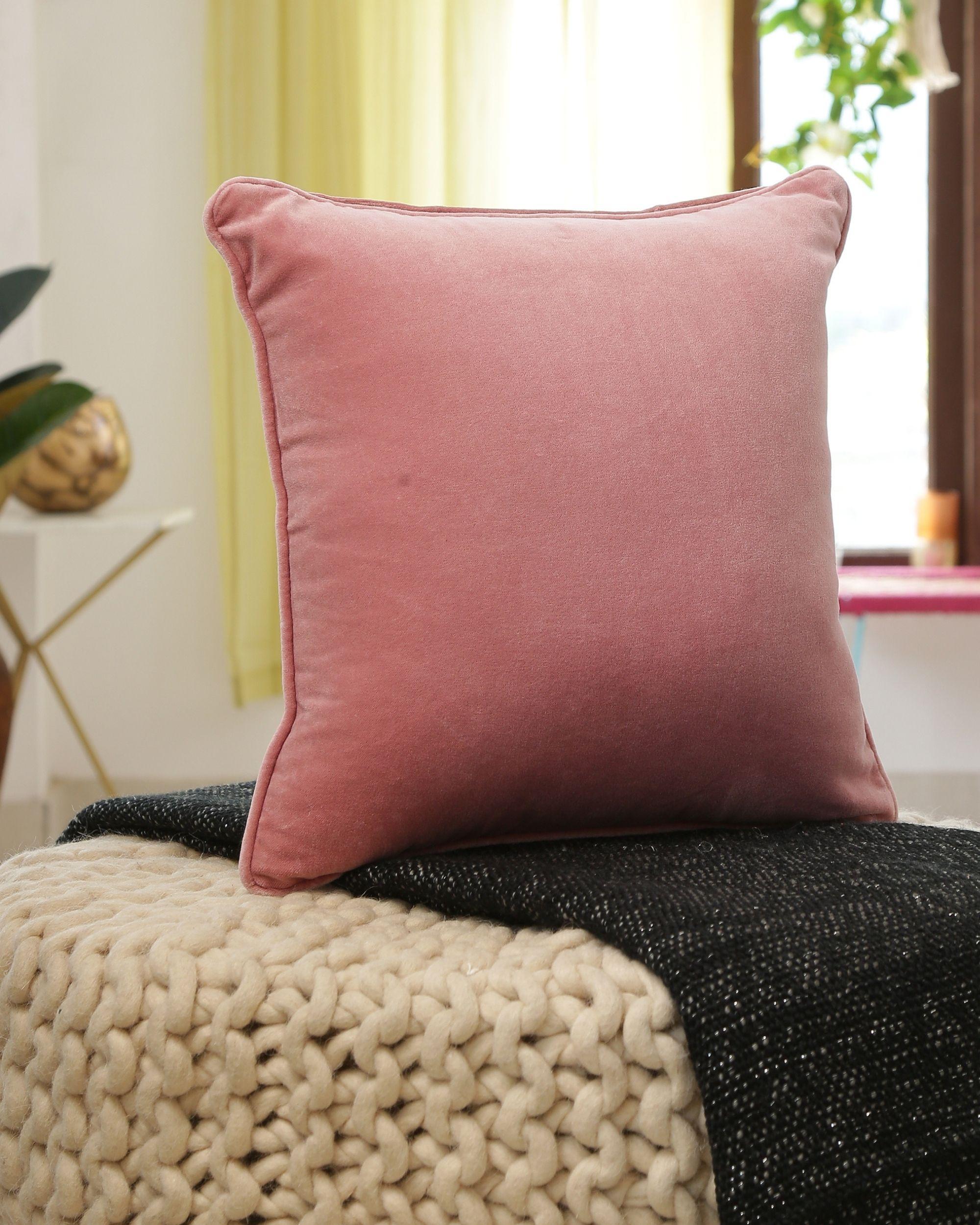 Pink cotton velvet cushion cover