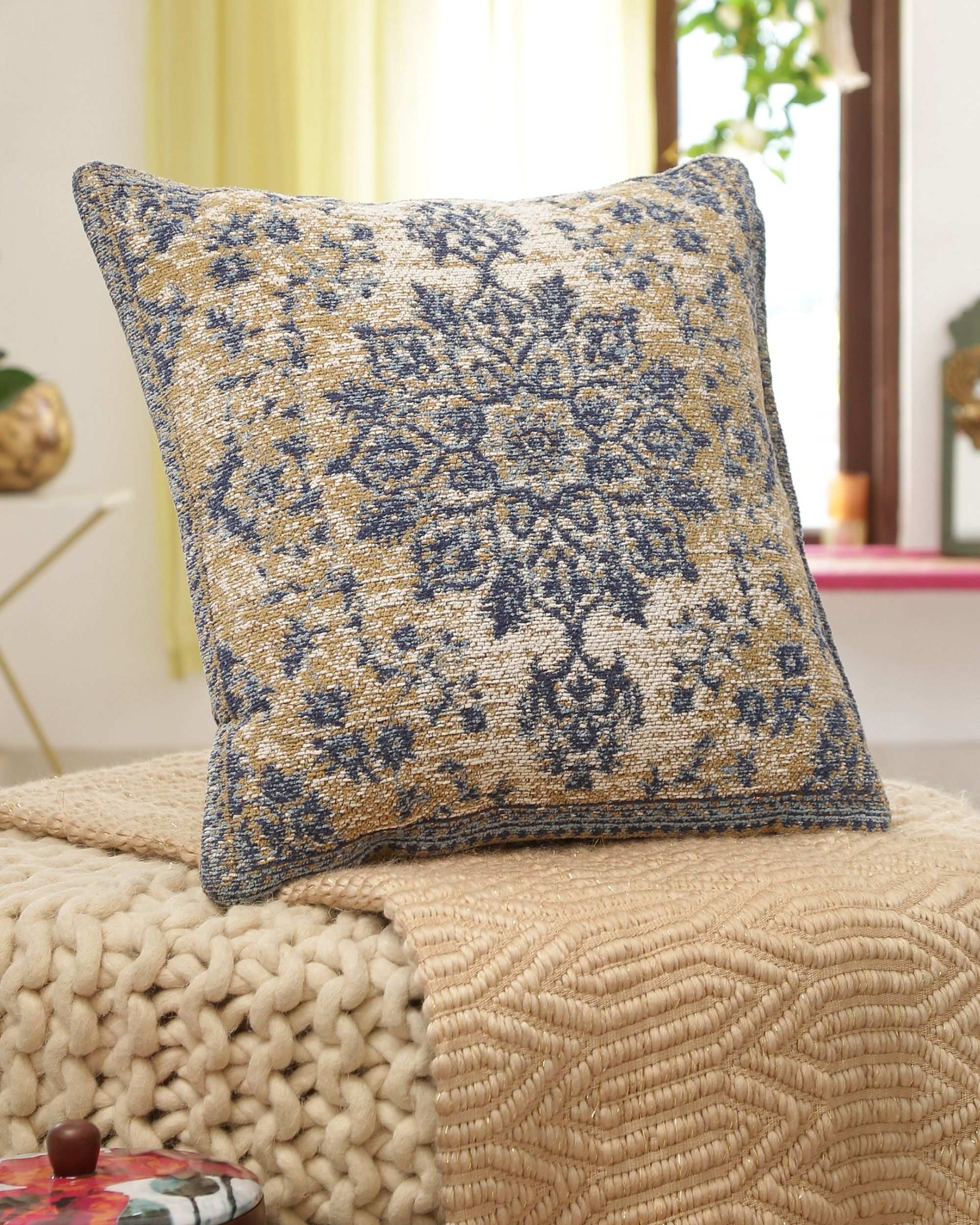 Beige and blue persian cushion cover