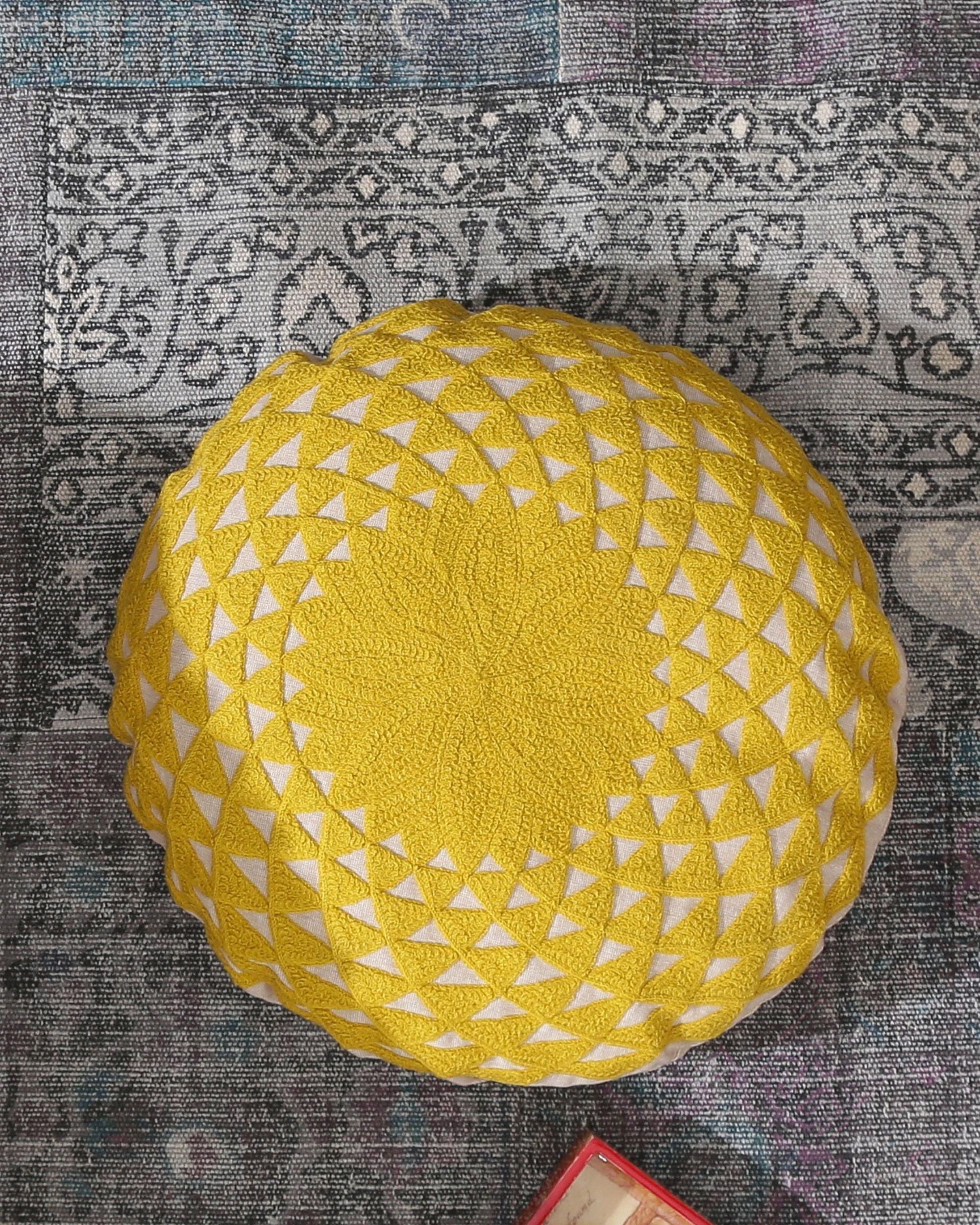 Yellow mandala cushion cover