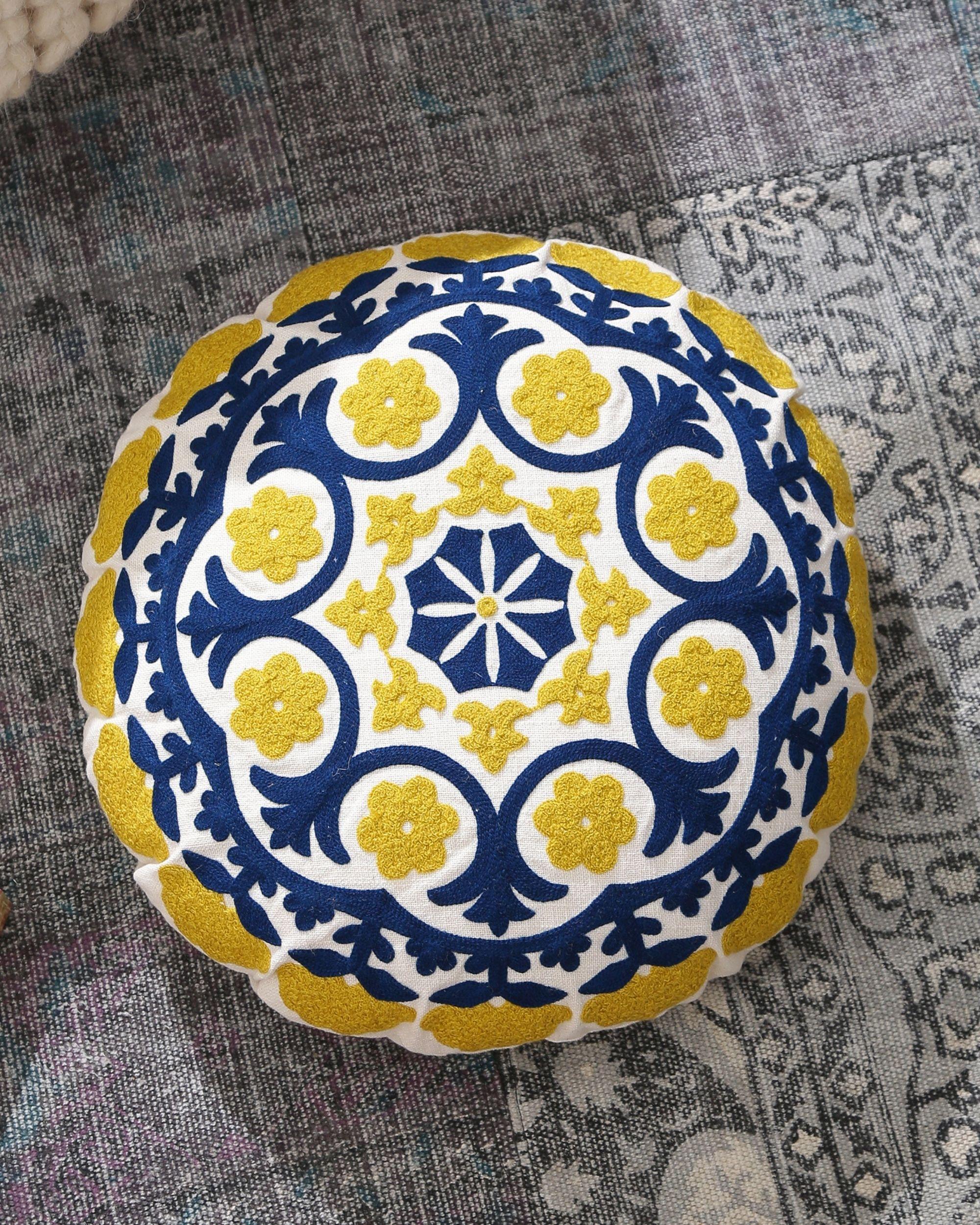 Blue and yellow mandala cushion cover