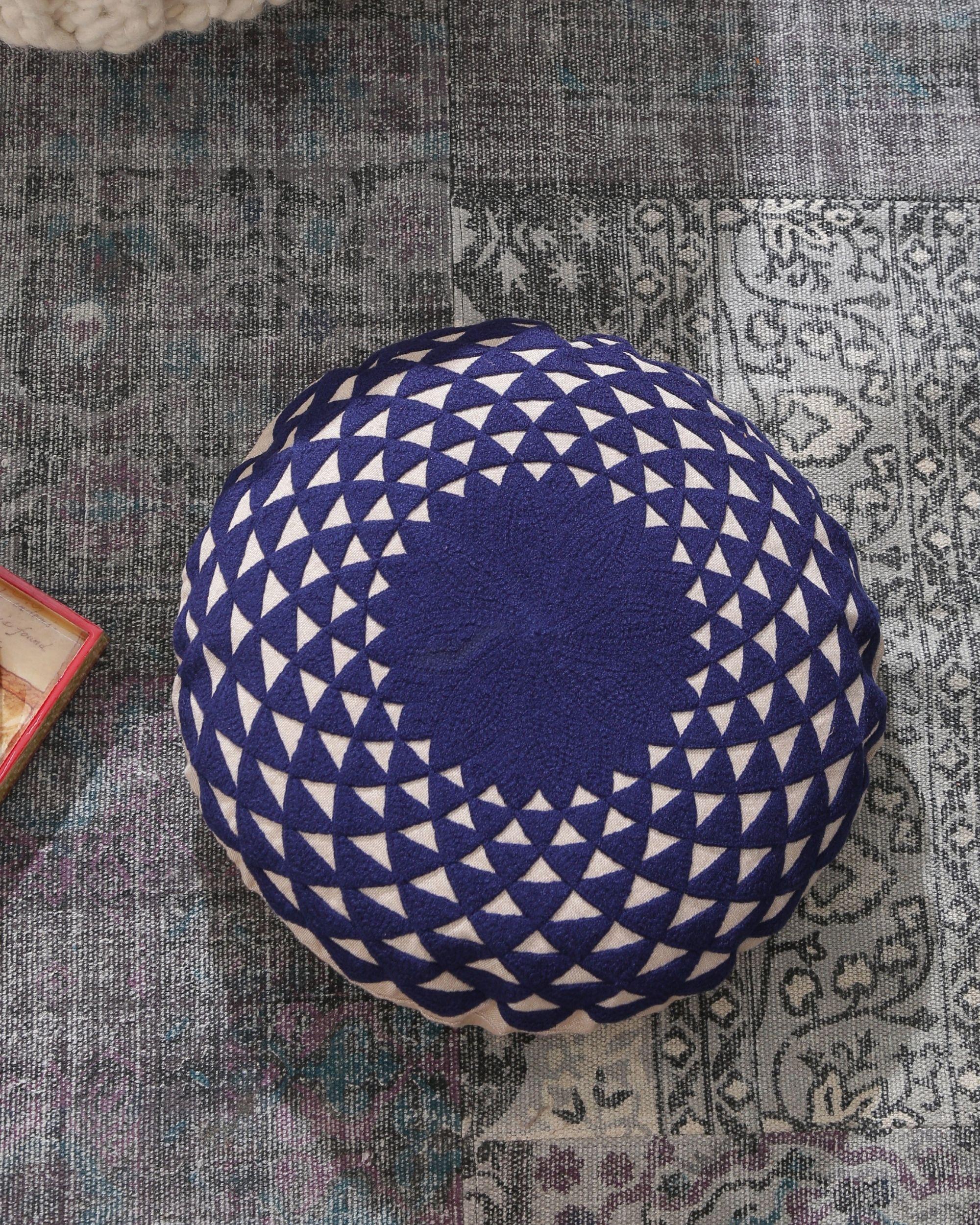 Deep blue mandala cushion cover