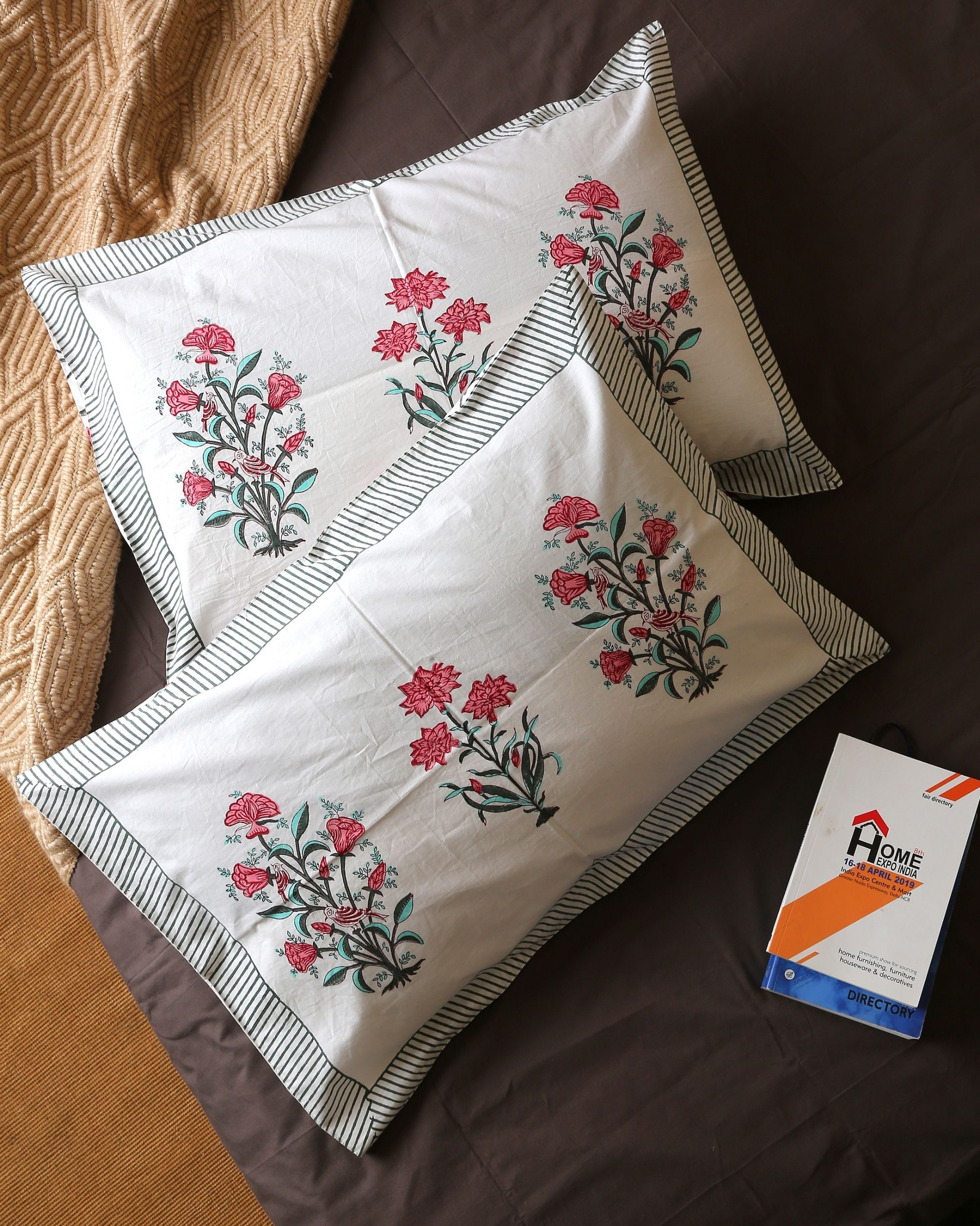 Pink cypress bouquet pillow covers - set of two