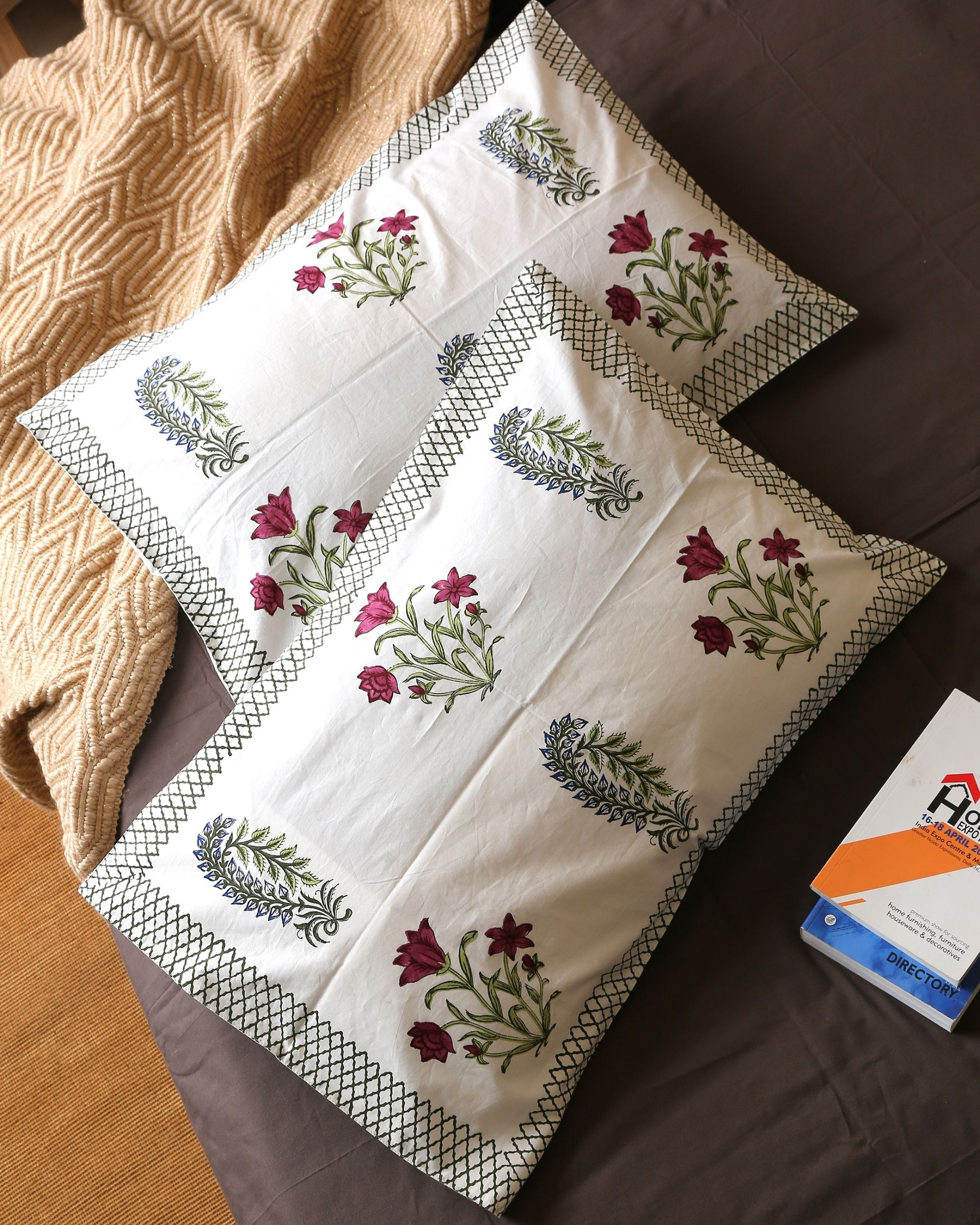 Burgundy cypress bouquet pillow covers - set of two